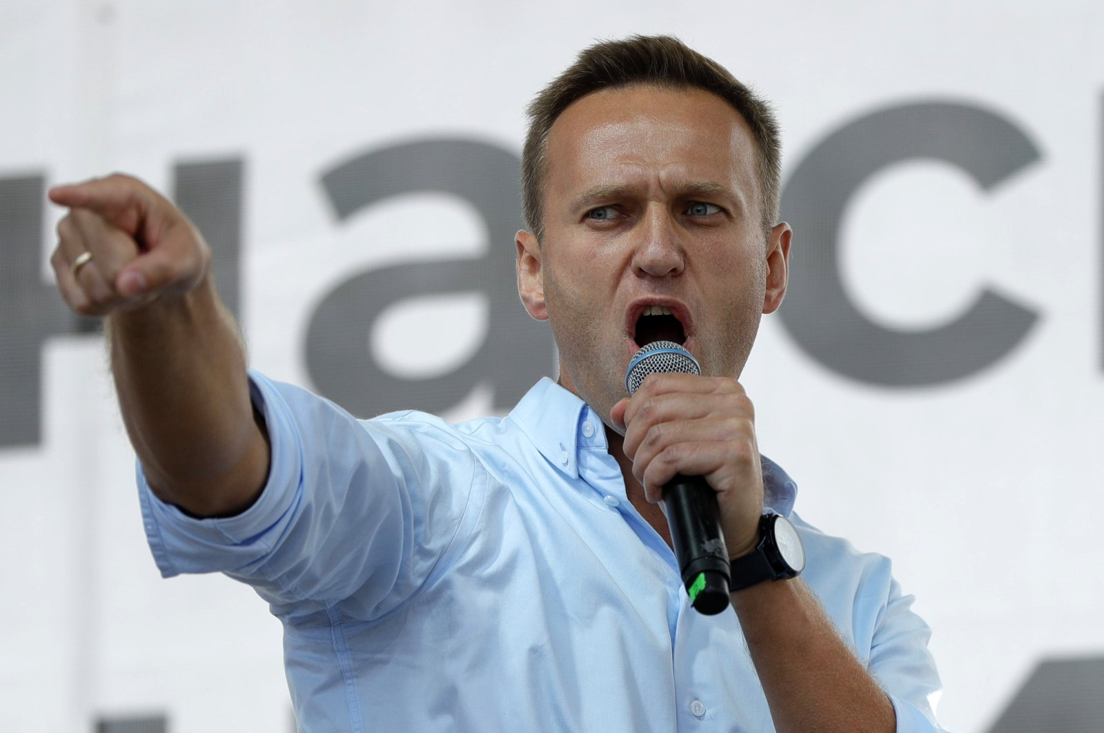 Russian opposition activist Alexei Navalny gestures while speaking to a crowd during a political protest in Moscow, Russia, July 20, 2019. (AP Photo)