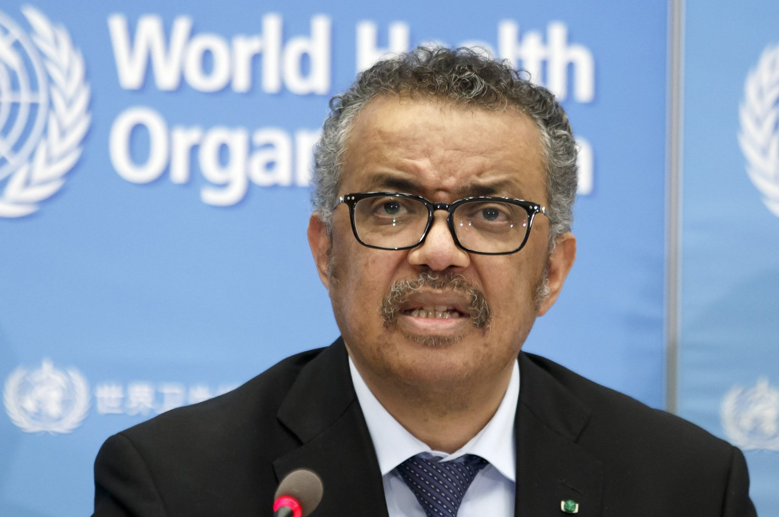 Tedros Adhanom Ghebreyesus, Director-General of the World Health Organization, addresses a press conference about the update on COVID-19 at the WHO headquarters in Geneva, Switzerland, Feb. 24, 2020. (AP Photo)