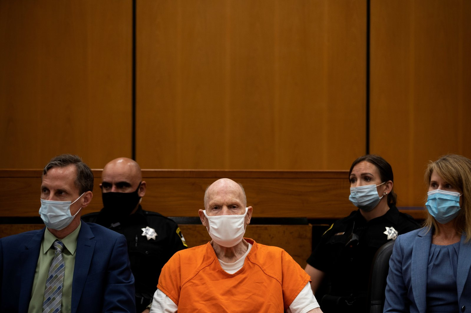 Joseph James DeAngelo, known as the Golden State Killer, looks away from the podium as people who DeAngelo victimized make their statements on the first day of victim impact statements at the Gordon D. Schaber Sacramento County Courthouse in Sacramento, California, U.S., Aug. 18, 2020. (Reuters Photo)