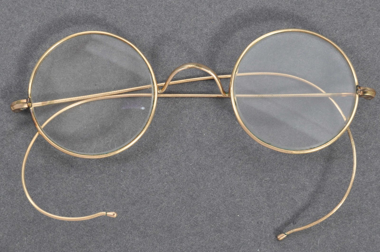 A handout picture released by East Bristol Auctions shows a pair of glasses that once belonged to Indian independence icon Mohandas K. Gandhi photographed at the auction house in Bristol on Aug. 20, 2020. (AFP Photo)