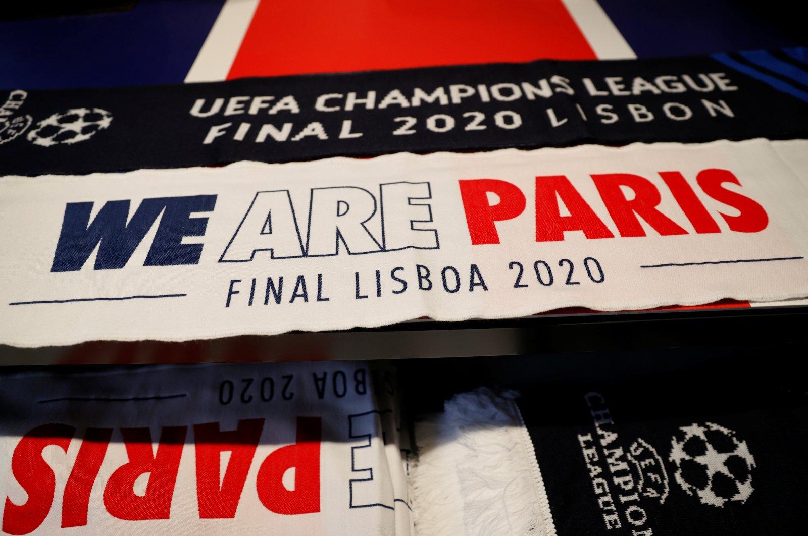 Paris Saint-Germain merchandise seen inside a PSG fan shop ahead of the Champions League final against Bayern Munich, in Paris, Aug. 22, 2020. (Reuters Photo)
