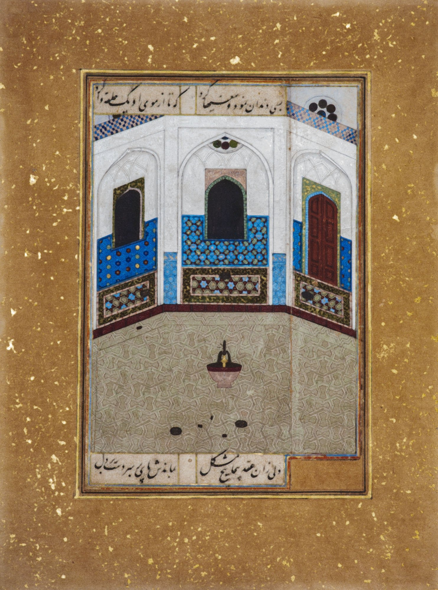 Shahpour Pouyan, 'Mihr in a Bath House in Khwarazm,' 2019, mixed media and print on German cotton paper, 25 by 20 centimeters. (PHOTO COURTESY OF PERA MUSEUM)