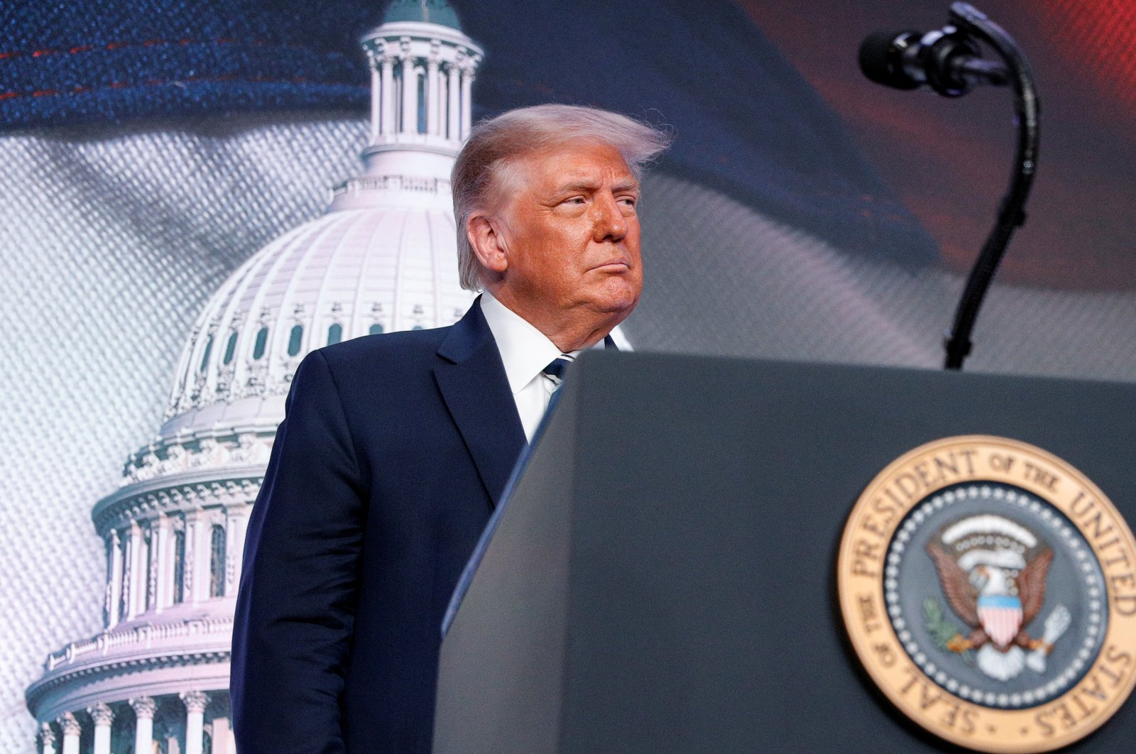 U.S. President Donald Trump arrives to speak at the 2020 Council for National Policy meeting in Arlington, Virginia, U.S., August 21, 2020. (REUTERS Photo)