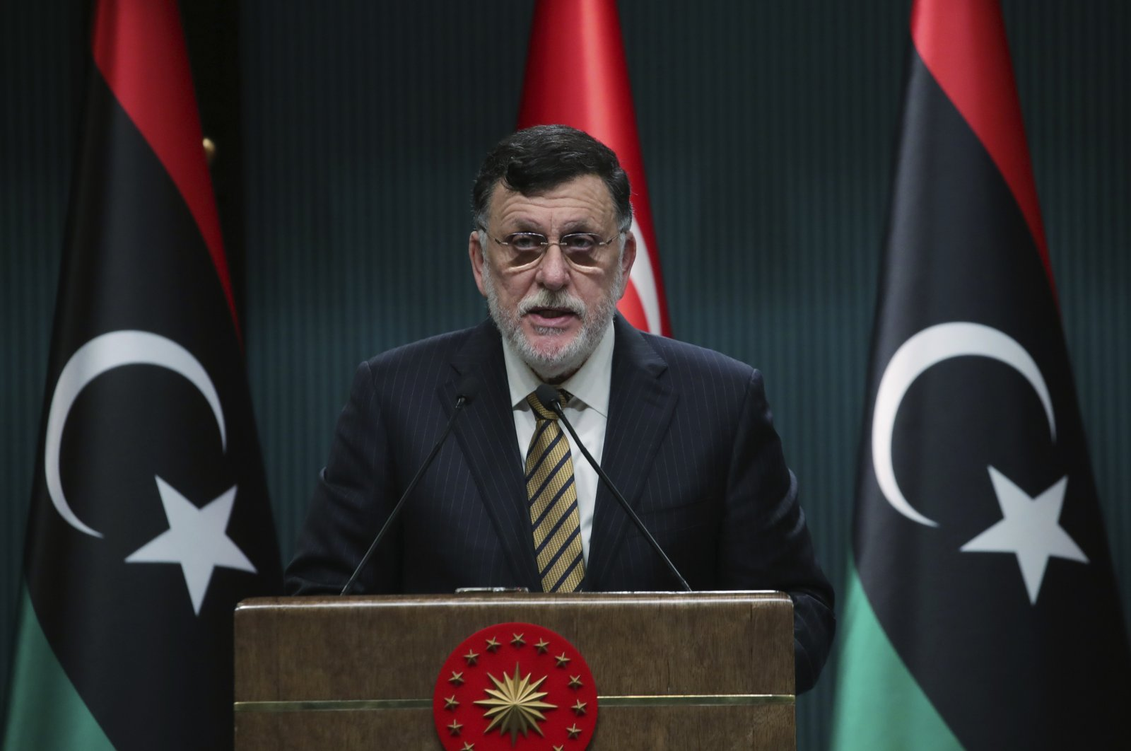 Fayez Sarraj, the head of Libya's internationally recognized Government of National Accord (GNA), speaks at a news conference in Ankara, Turkey, June 4, 2020. (AP Photo)