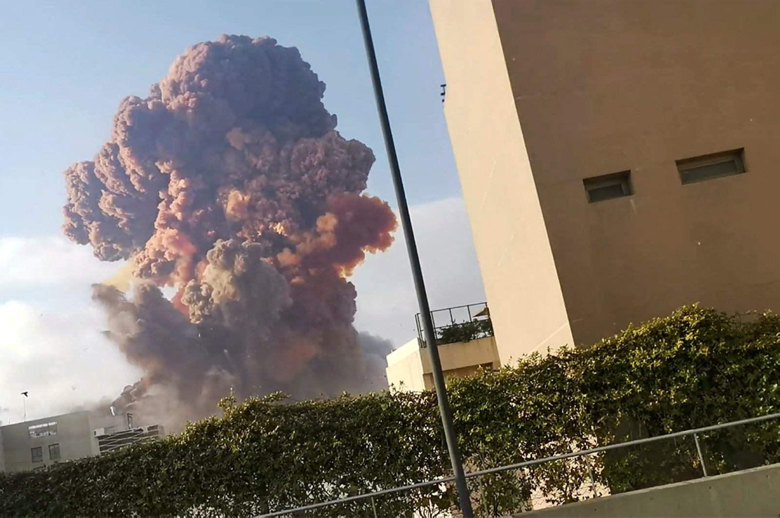 Smoke rises after an explosion in Beirut, Lebanon Aug. 4, 2020, in this picture obtained from a social media video. (Reuters Photo)