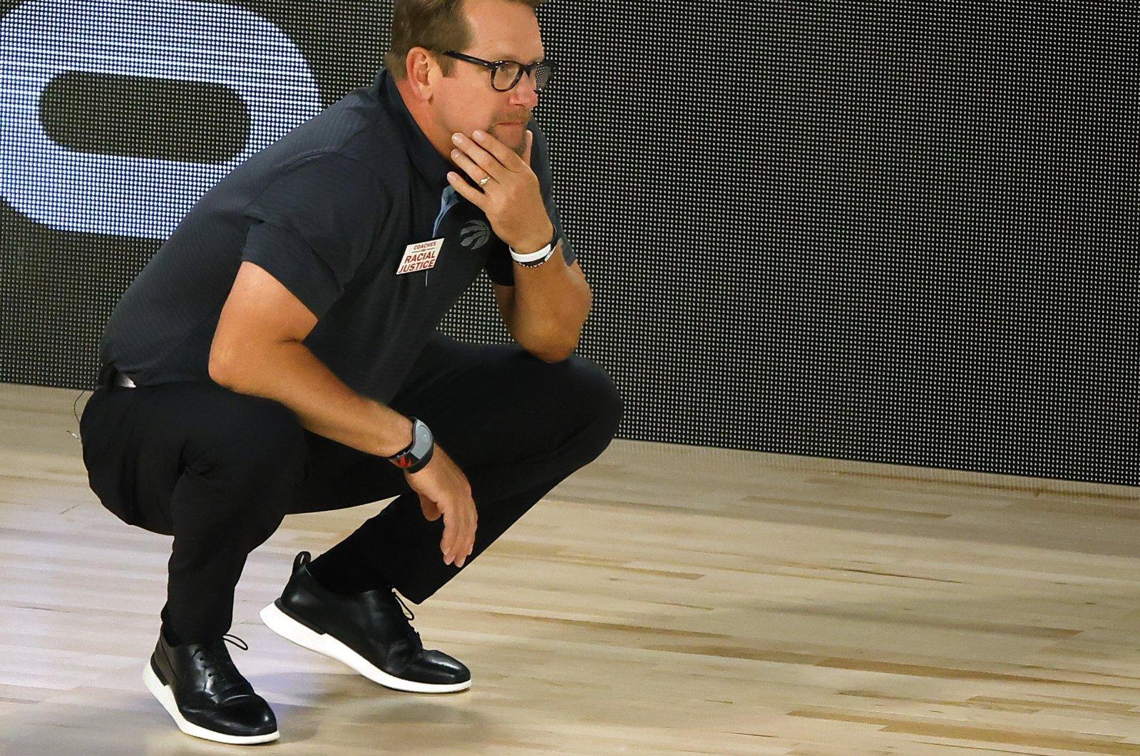 Toronto Raptors head coach Nick Nurse looks on during an NBA game against the Brooklyn Nets, in Lake Buena Vista, Florida, U.S., Aug. 19, 2020. (AP Photo)