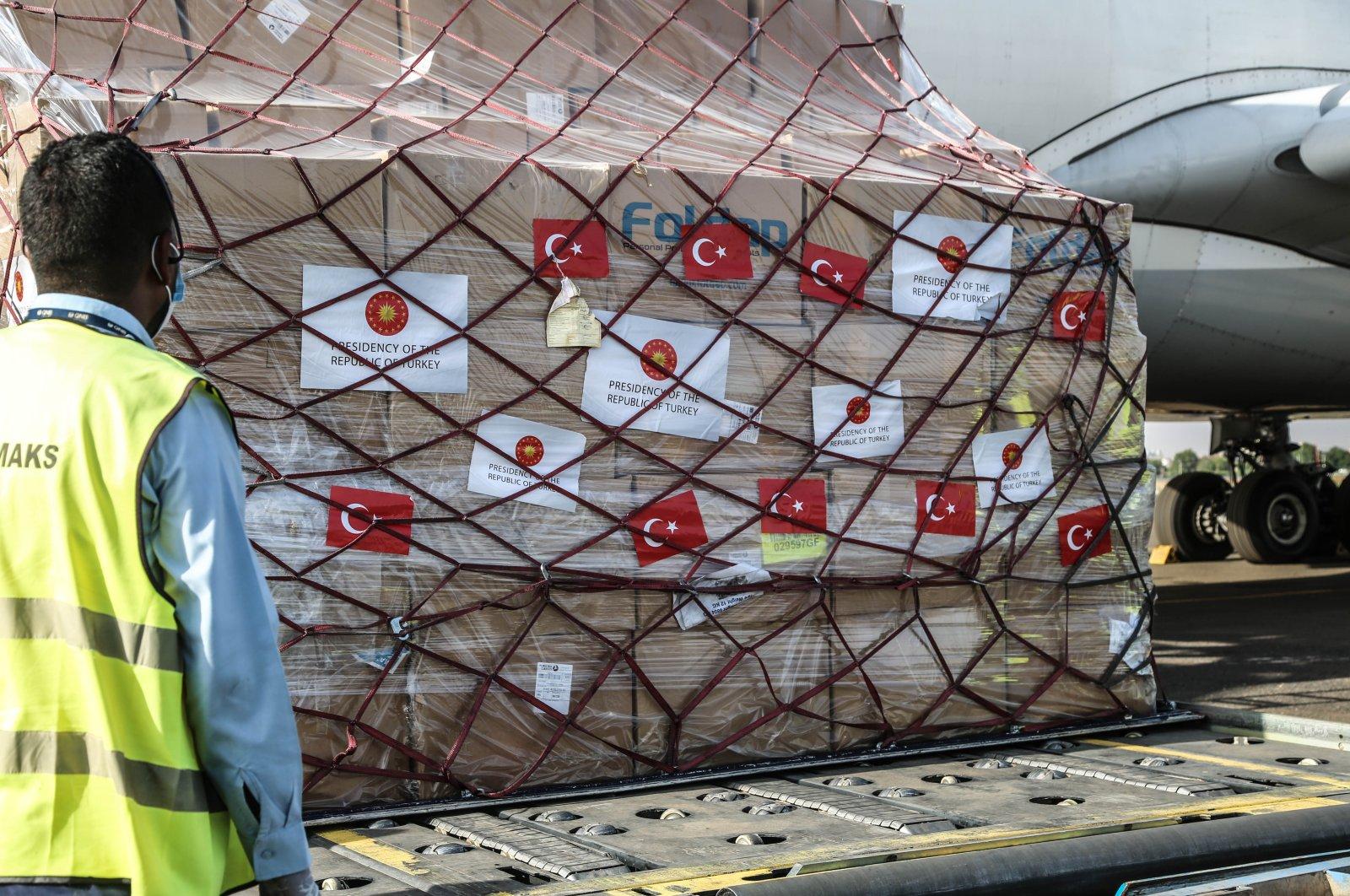 A Turkish aircraft carrying medical supplies arrives in Sudan's capital Khartoum, Aug. 22, 2020. (AA Photo)
