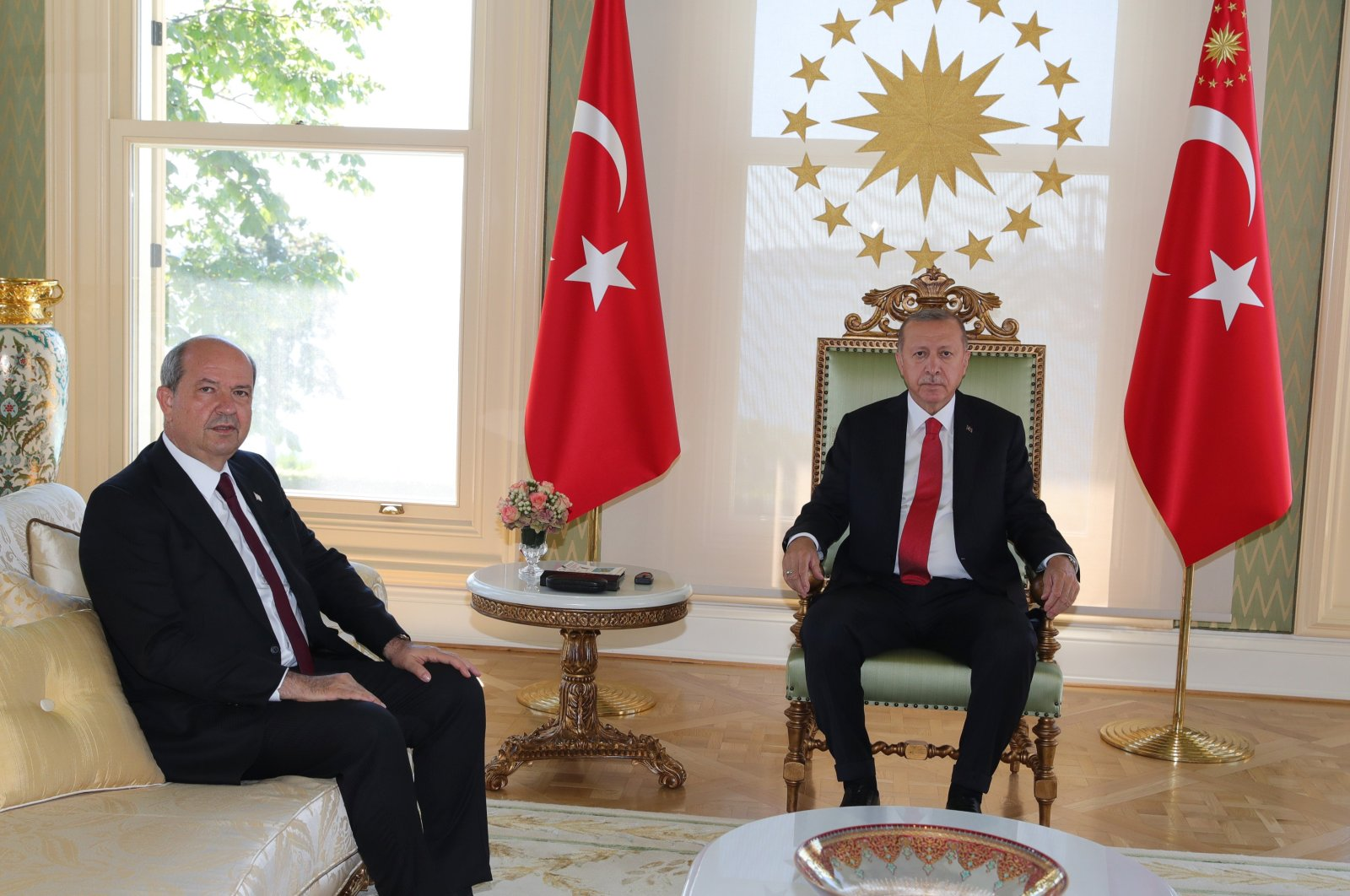 President Recep Tayyip Erdoğan receives Turkish Republic of Northern Cyprus (TRNC) Prime Minister Ersin Tatar, August 12, 2020. (AA Photo)