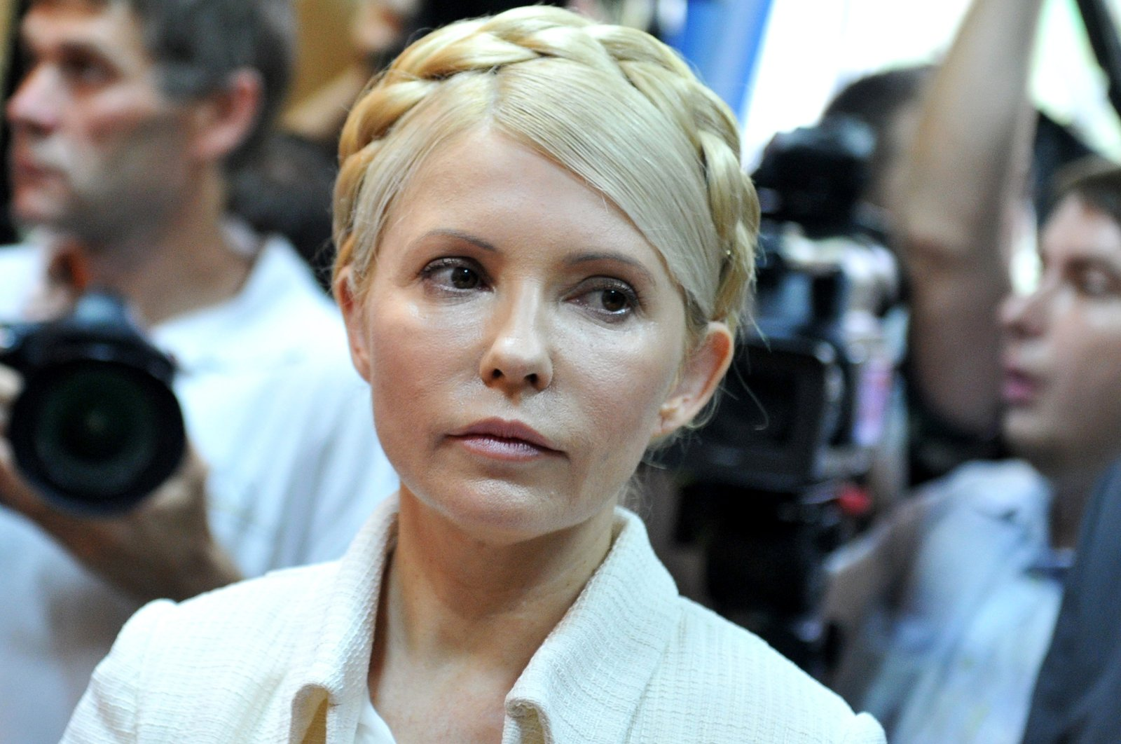 In this photograph taken on June 24, 2011 Ukraine's ex-prime minister Yulia Tymoshenko looks on at the beginning her court hearing in Kiev. (AFP Photo)