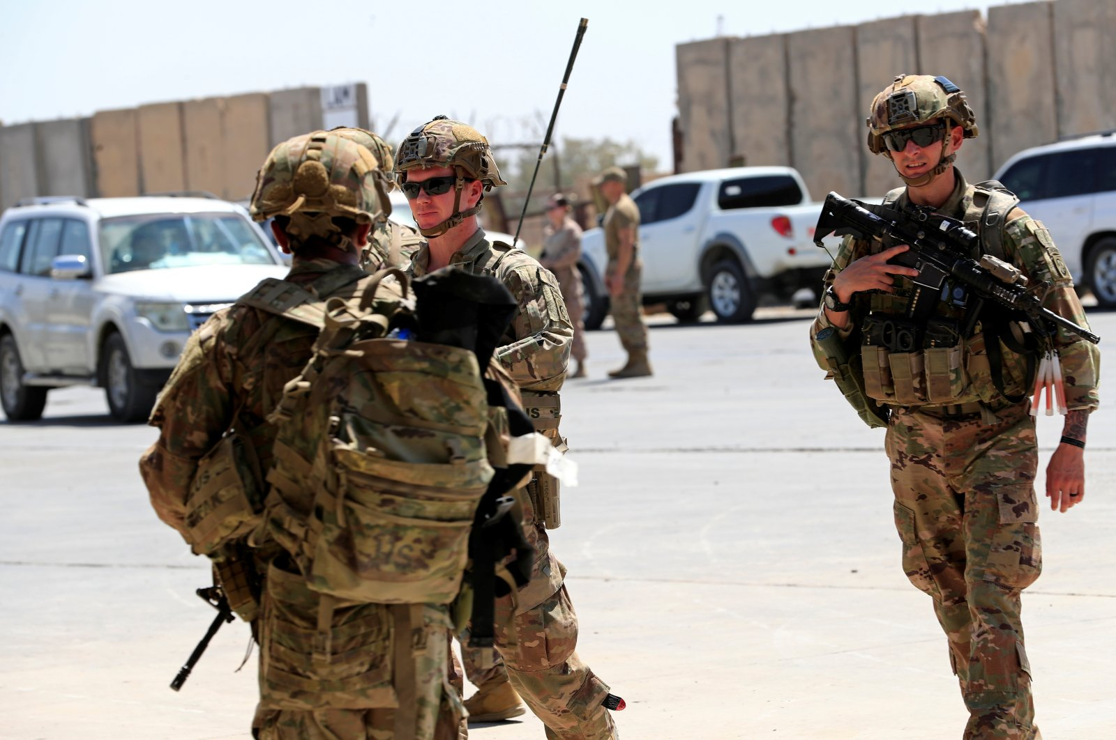 U.S. soldiers are seen during a handover ceremony of Taji military base from U.S.-led coalition troops to Iraqi security forces, in the base north of Baghdad, Iraq, Aug. 23, 2020. (Reuters Photo)