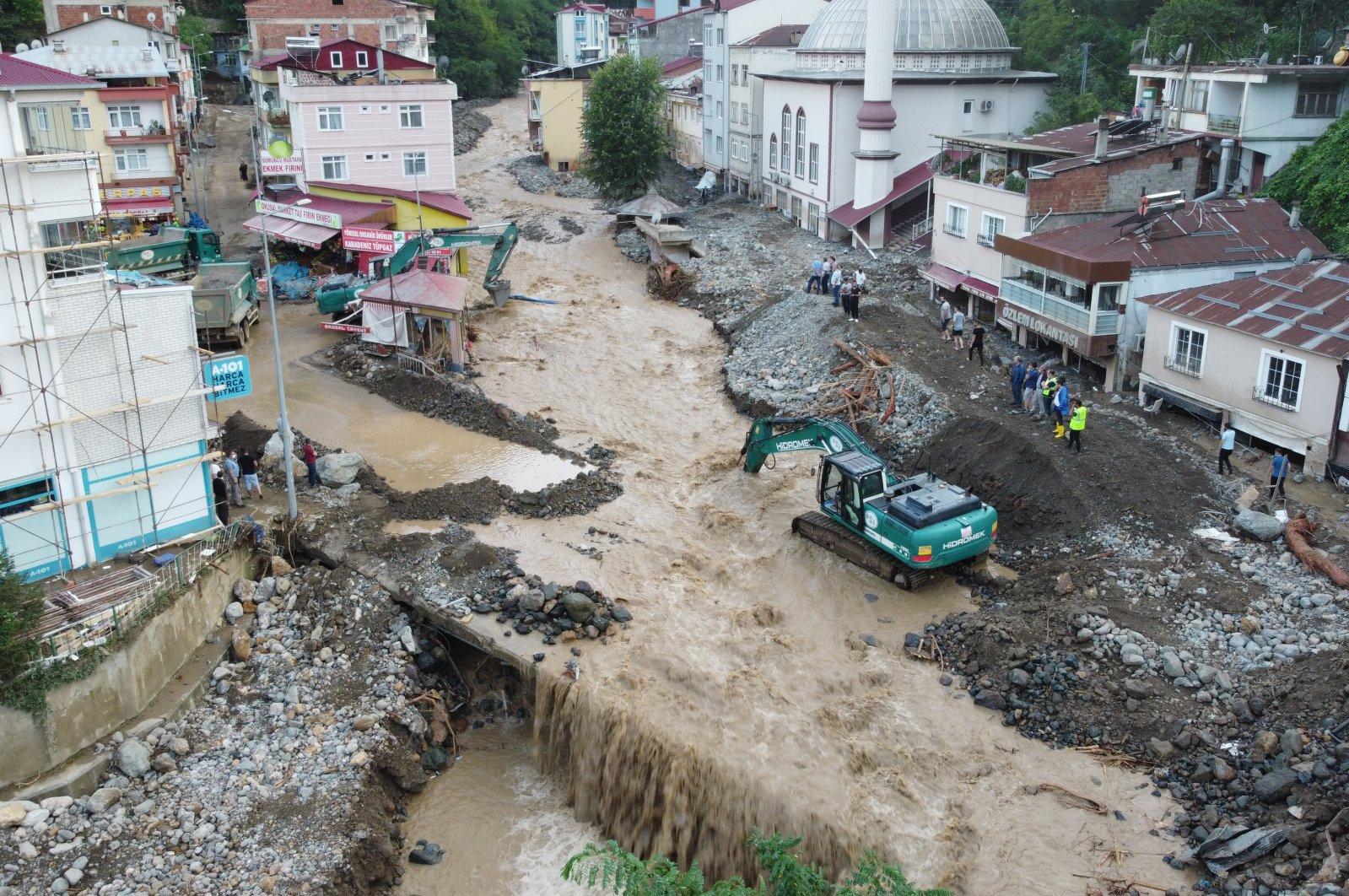 A bridge destroyed by flash floods in Giresun's Dereli district, northeastern Turkey, Aug. 23, 2020. (AA Photo)