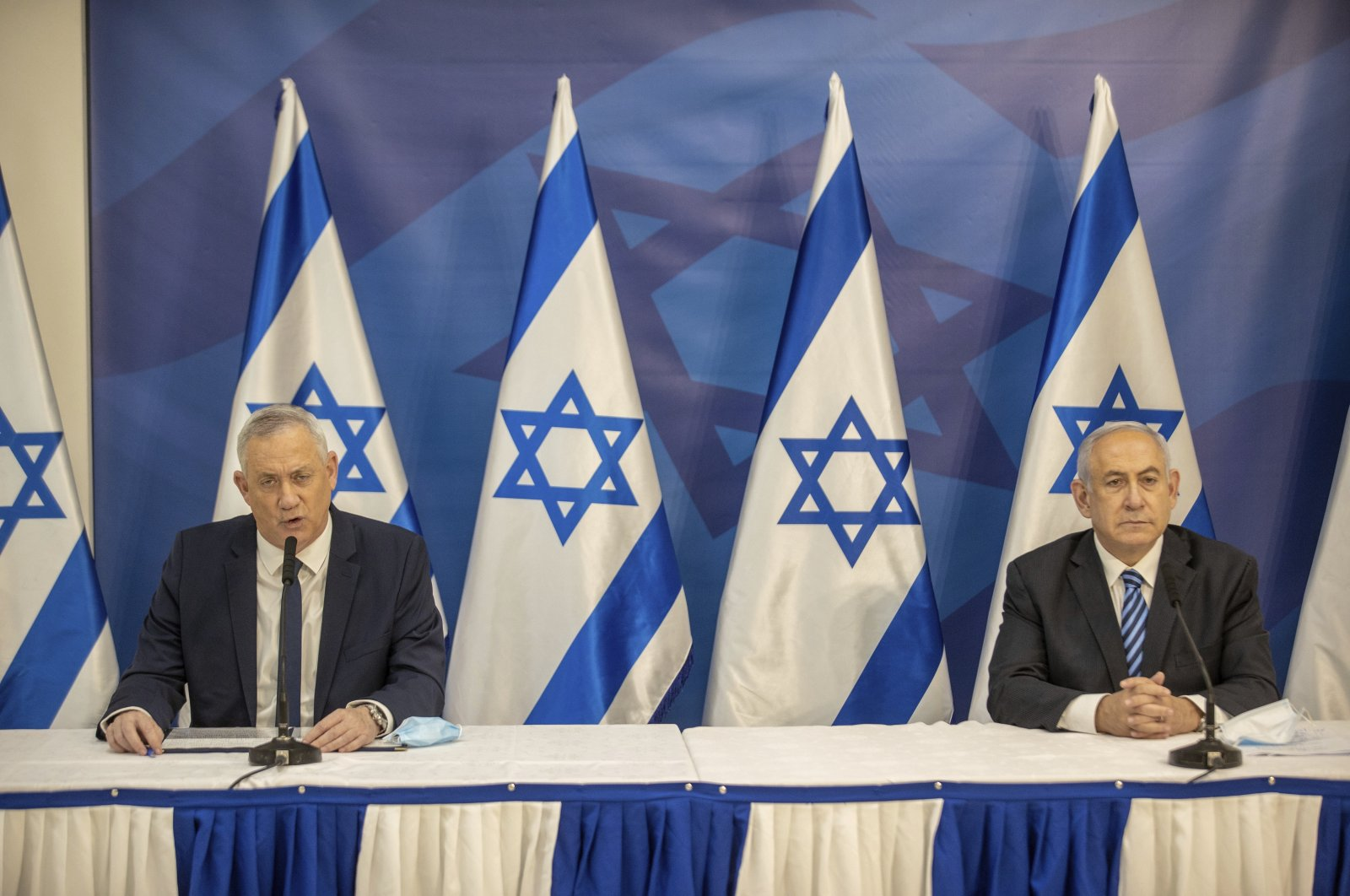 Israeli Prime Minister Benjamin Netanyahu and Israeli Defense Minister Benny Gantz issue a statement at the Israeli Defense Ministry in Tel Aviv, Israel, July 27, 2020. (AP Photo)
