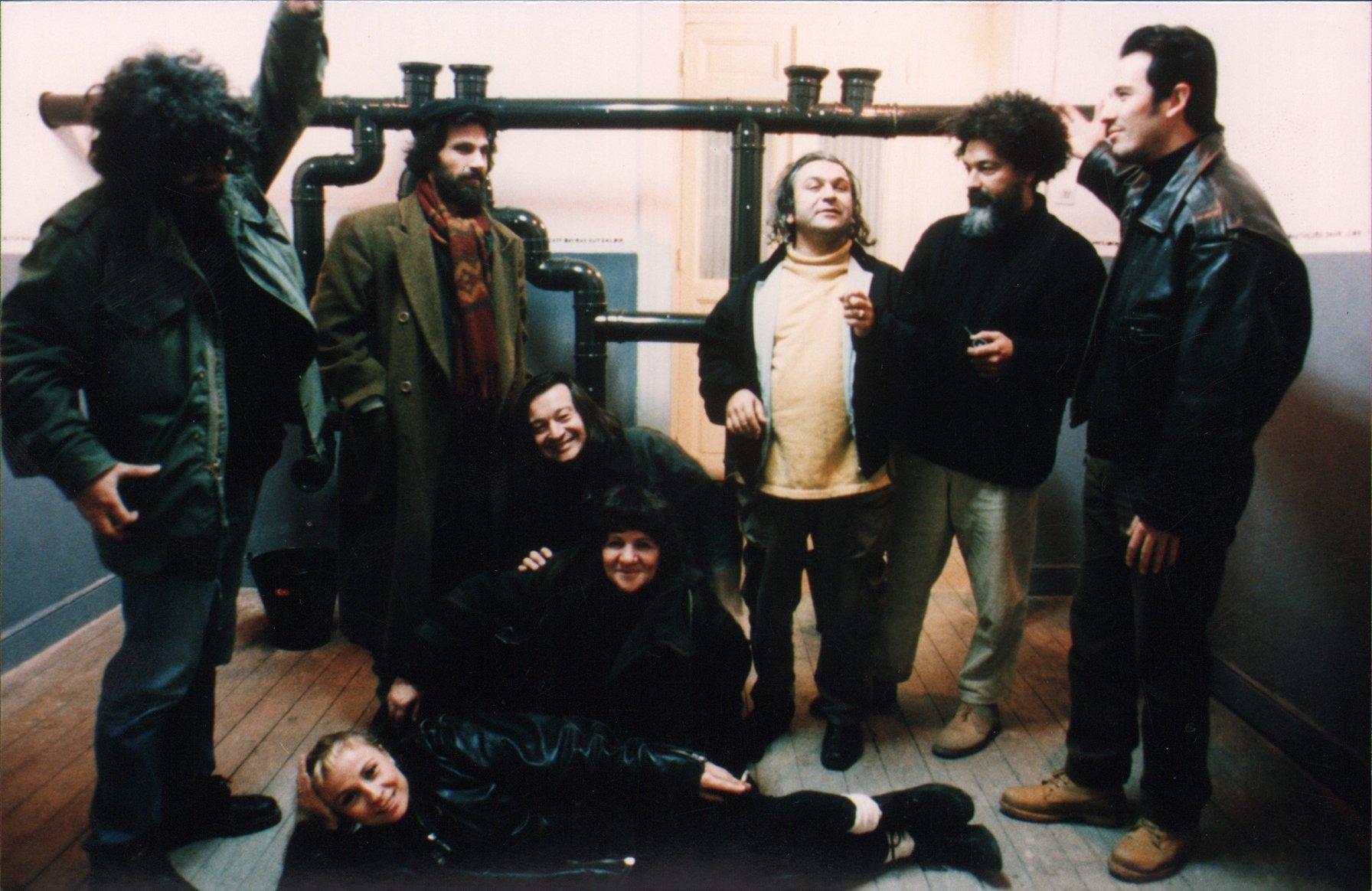 Pictured from left to right,  Ahmet Müderrisoğlu, Ismet Doğan, Hüseyin Bahri Alptekin, Emre Zeytinoğlu, Bülent Şangar and sitting Ali Akay, Gülsün Karamustafa and Müşerref Zeytinoğlu. (PHOTO COURTESY OF SALT Research)
