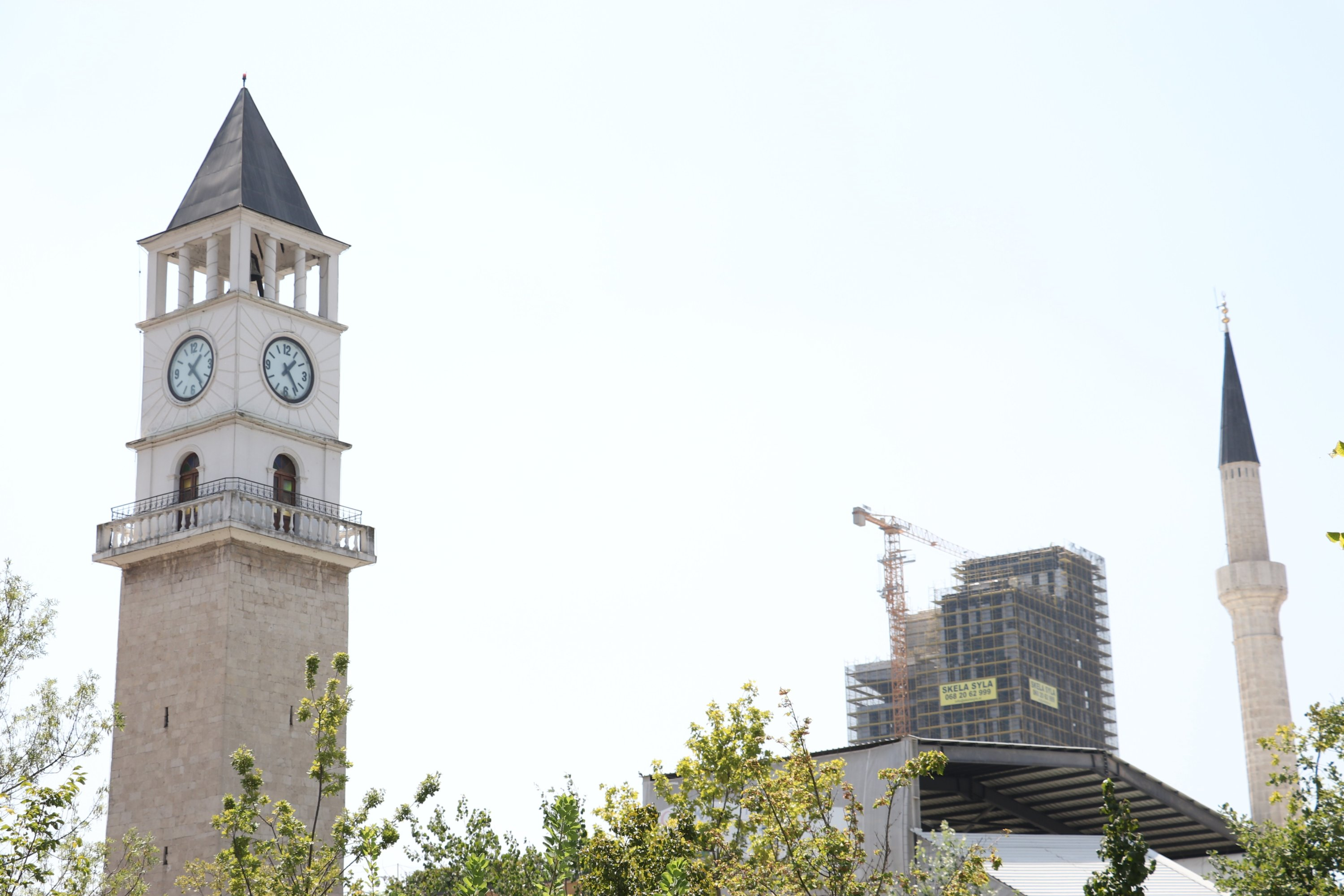The Clock Tower of Tirana features four clocks on each side of its top, Tirana, Albania, Aug. 22, 2020. (AA PHOTO)