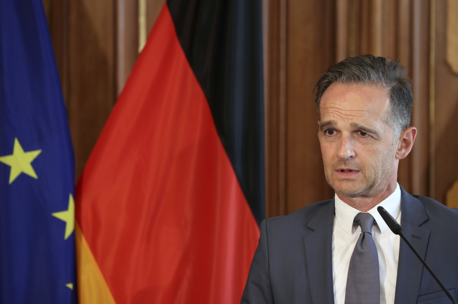 German Foreign Minister Heiko Maas addresses the media during a joint news conference with Norway's Foreign Minister Ine Marie Eriksen Soreide in Berlin, Germany, Aug. 13, 2020. (AP Photo)