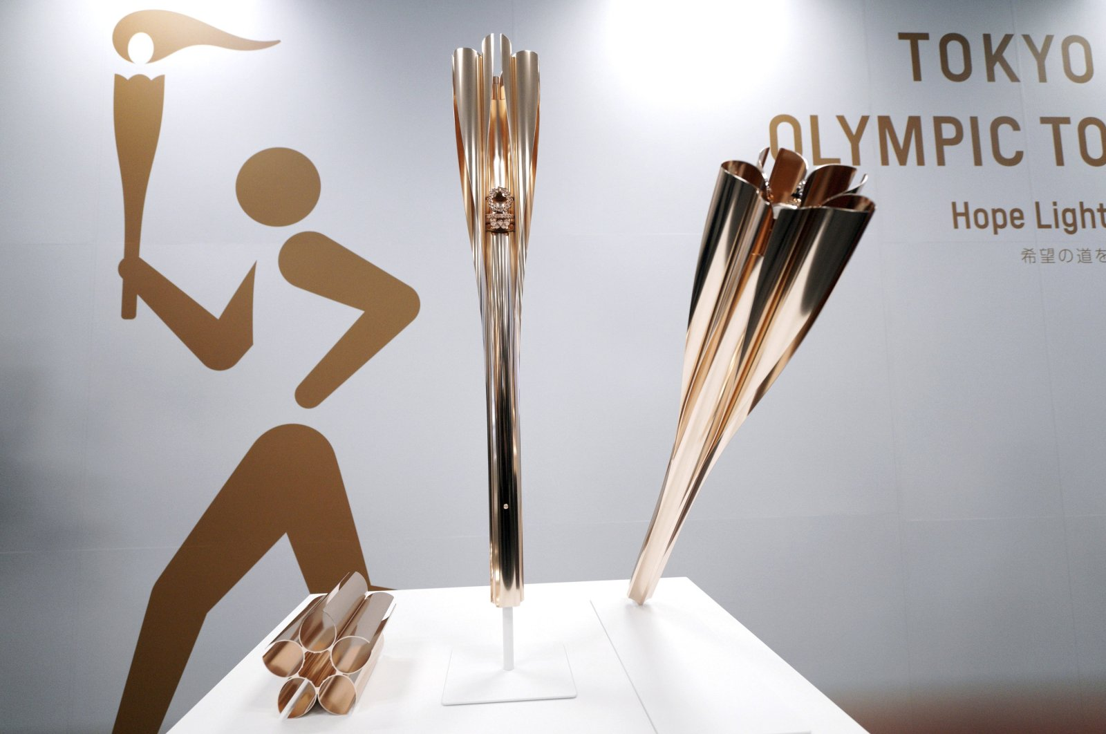 Olympic torches of the Tokyo 2020 Olympic Games are displayed during a press conference in Tokyo, Japan, March 20, 2019. (AP Photo)