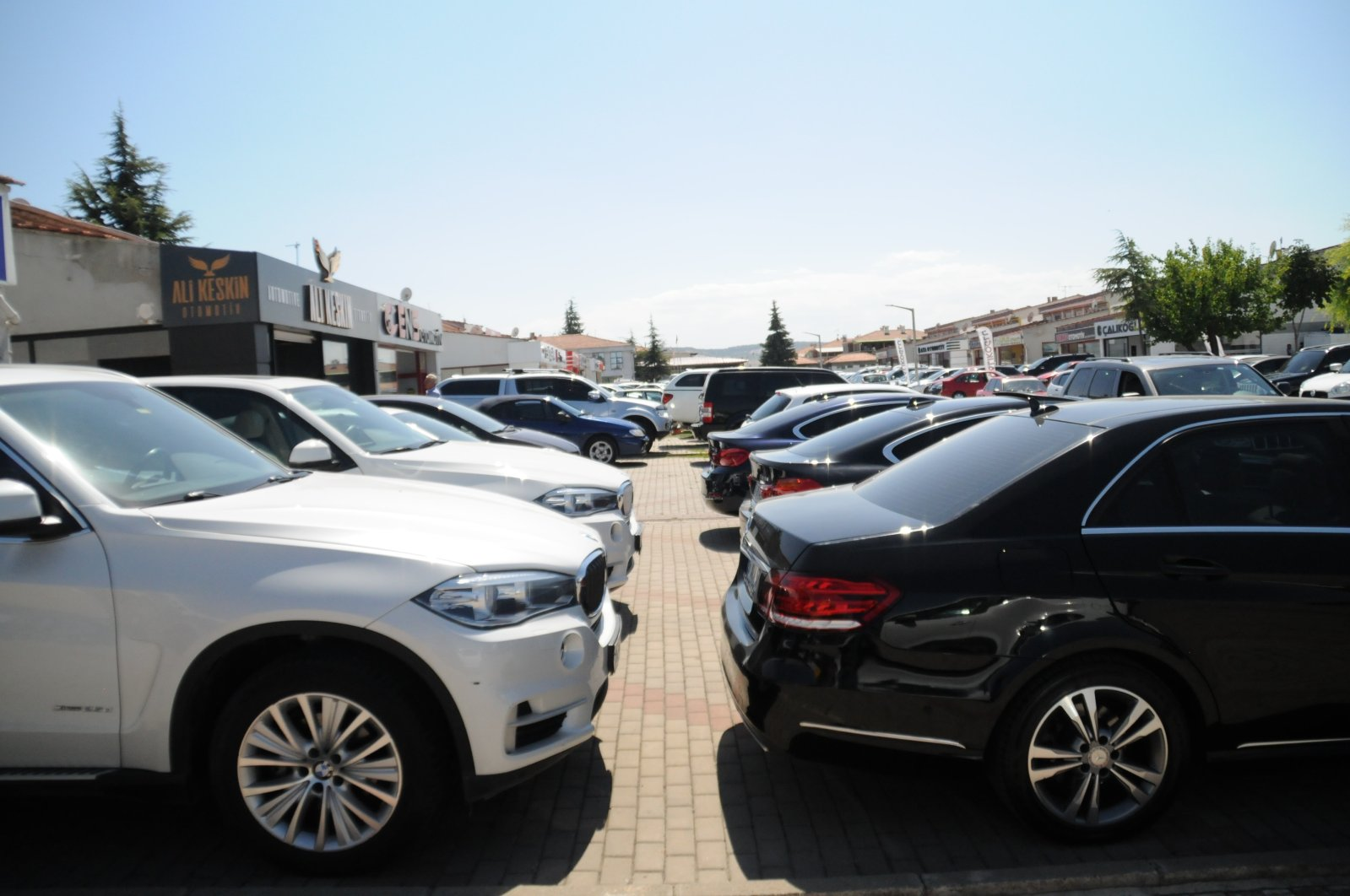 Rental passenger cars are parked at a showroom in Central Anatolian Eskişehir province in Turkey August 24 2020. (IHA Photo)