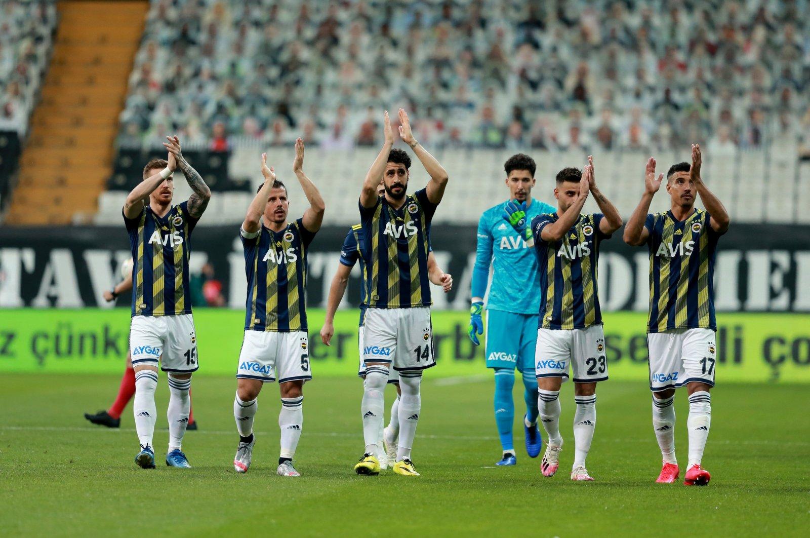 Fenerbahçe players react after a Süper Lig match against Beşiktaş in Istanbul, Turkey, July 24, 2020. (AA Photo)