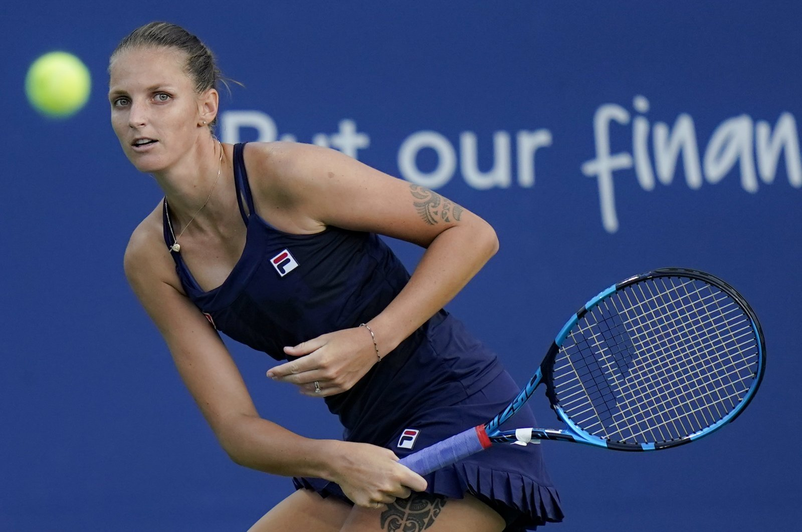 Karolina Pliskova during the Western & Southern Open tournament in New York, U.S., Aug. 23, 2020. (AP Photo)