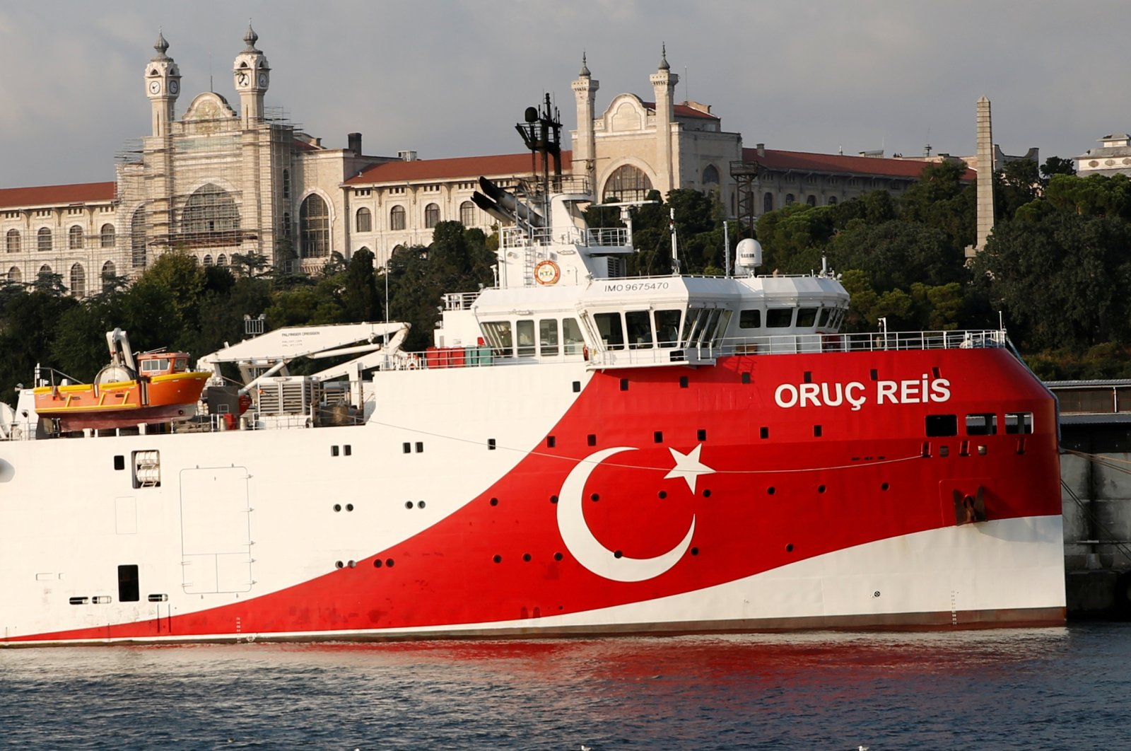 Turkish seismic research vessel MTA Oruc Reis is seen in Istanbul, Turkey, Aug. 22, 2019. (Reuters Photo)