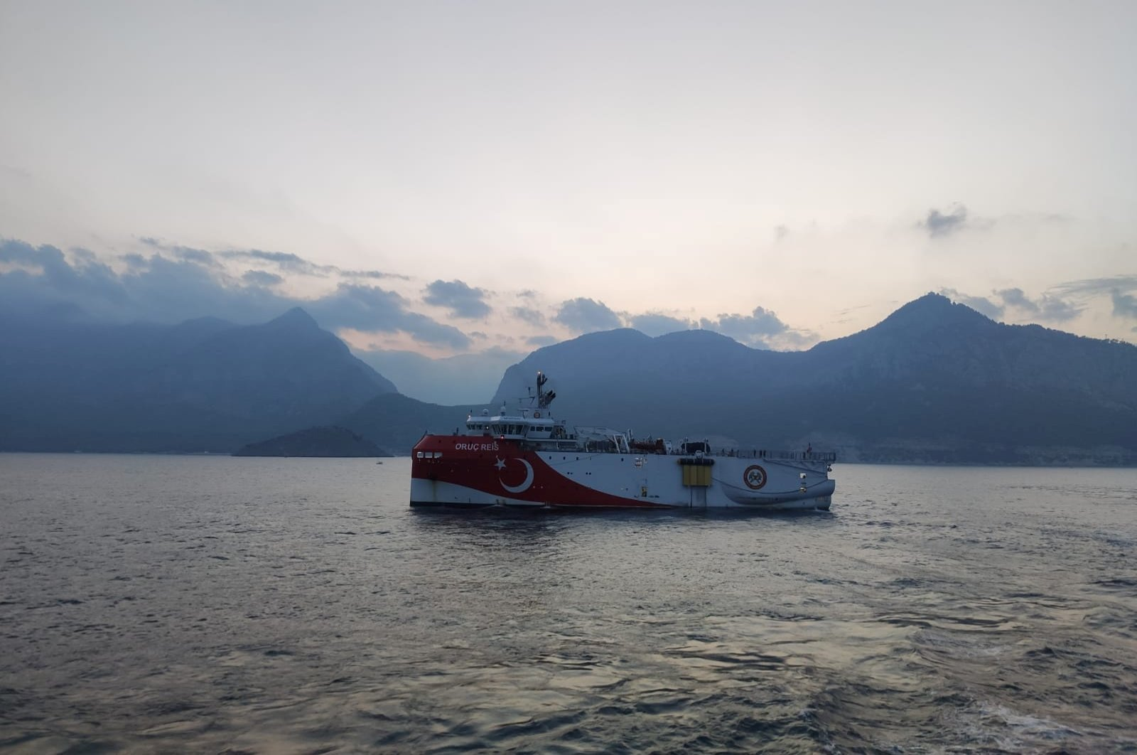 Turkish seismic research vessel Oruç Reis sails through the Mediterranean after leaving a port in Antalya, southern Turkey, Aug. 10, 2020. (Reuters Photo)