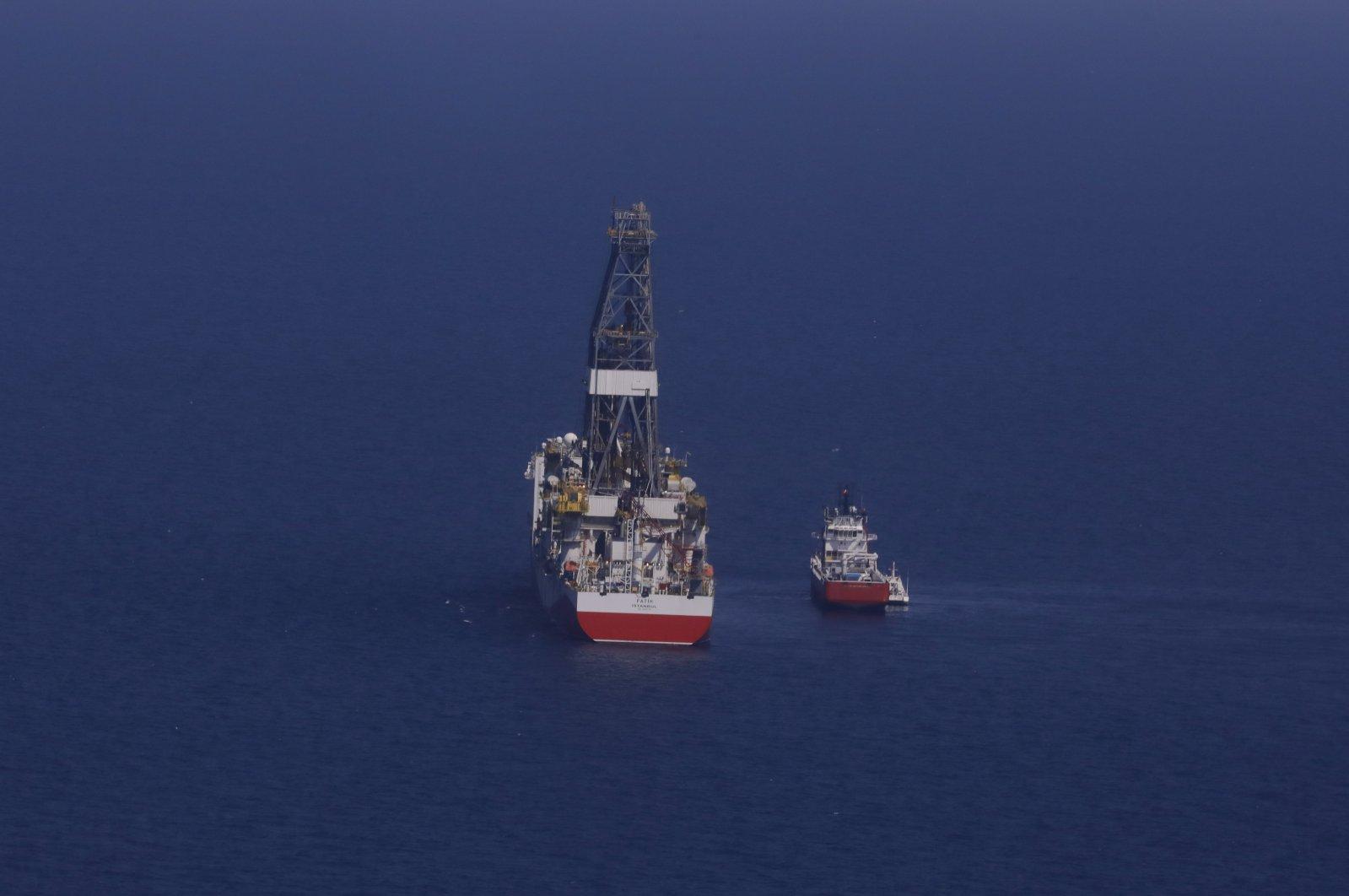 Turkey's drilling vessel Fatih is seen in the Black Sea, off the coast of Turkey, Aug. 21, 2020. (AA Photo)