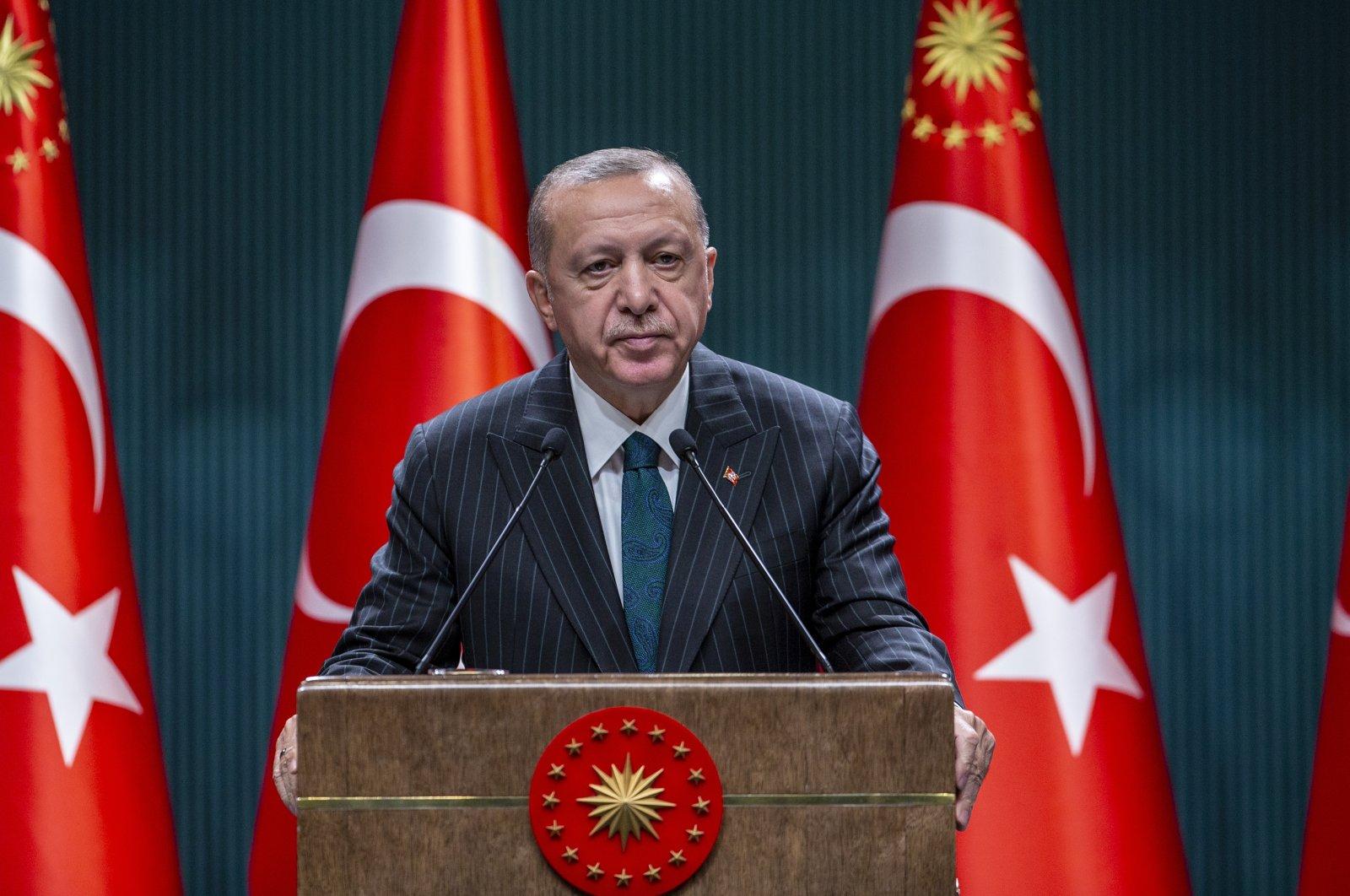 President Recep Tayyip Erdoğan delivers a speech after a Cabinet meeting, Ankara, Turkey, Aug. 24, 2020. (AA Photo)