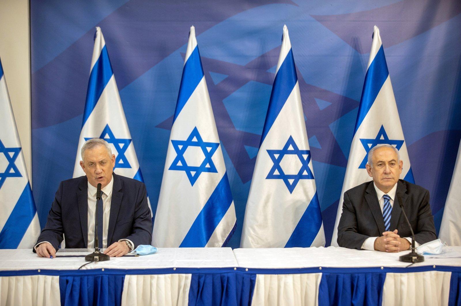 Israeli Prime Minister Benjamin Netanyahu (R) issues a statement alongside alternate prime minister and Defense Minister Benny Gantz at the Israeli Defense Ministry in Tel Aviv, Israel, July 27, 2020. (Reuters Photo)