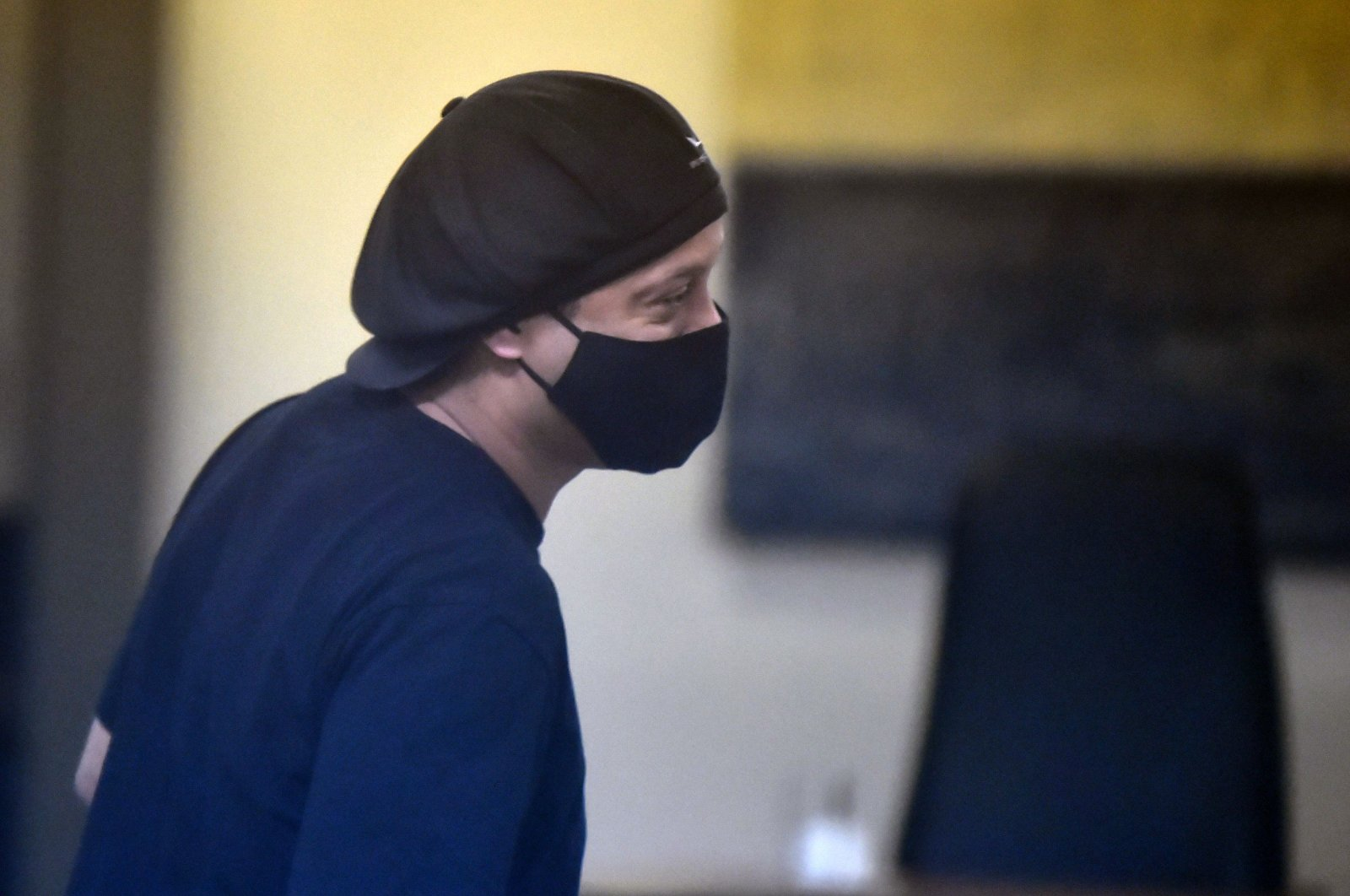 Brazilian retired football player Ronaldinho arrives for his hearing at the Asuncion's Justice Palace, in Asuncion, Paraguay, Aug. 24, 2020. (AFP Photo)