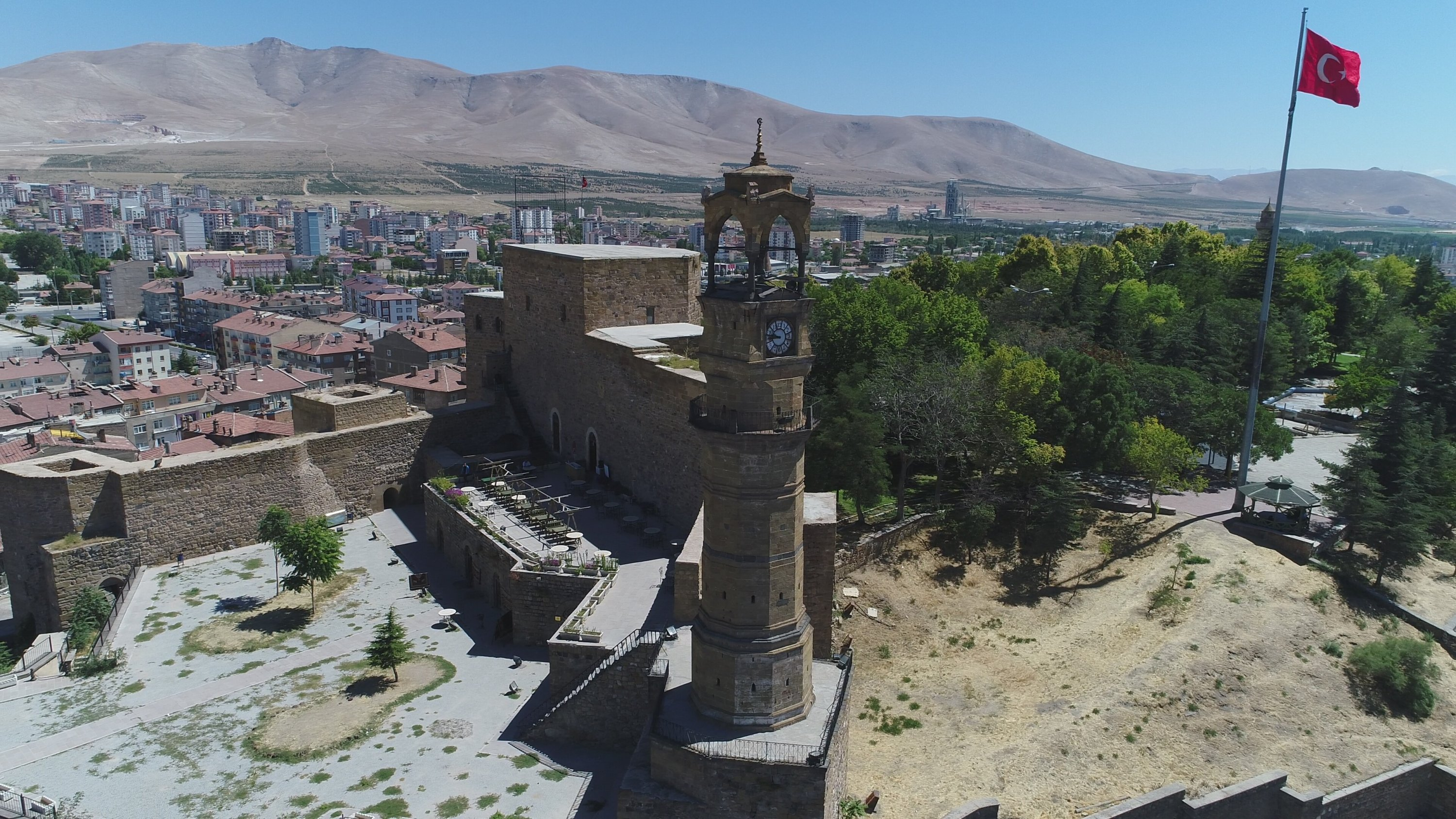 The clock tower in central Niğde province was built on the order of writer and administrator Ziya Pasha, Turkey, Aug. 24, 2020. (AA Photo)