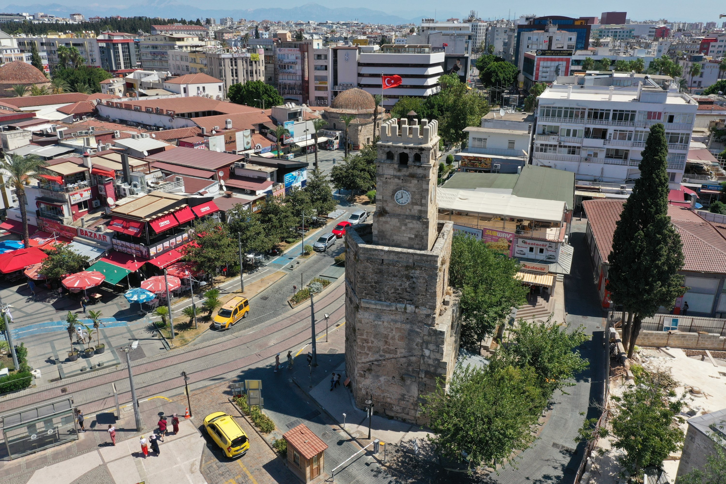 The clock tower in the southern city of Antalya is located in the Kalekapısı area, Antalya province, Turkey, Aug. 24, 2020. (AA Photo)