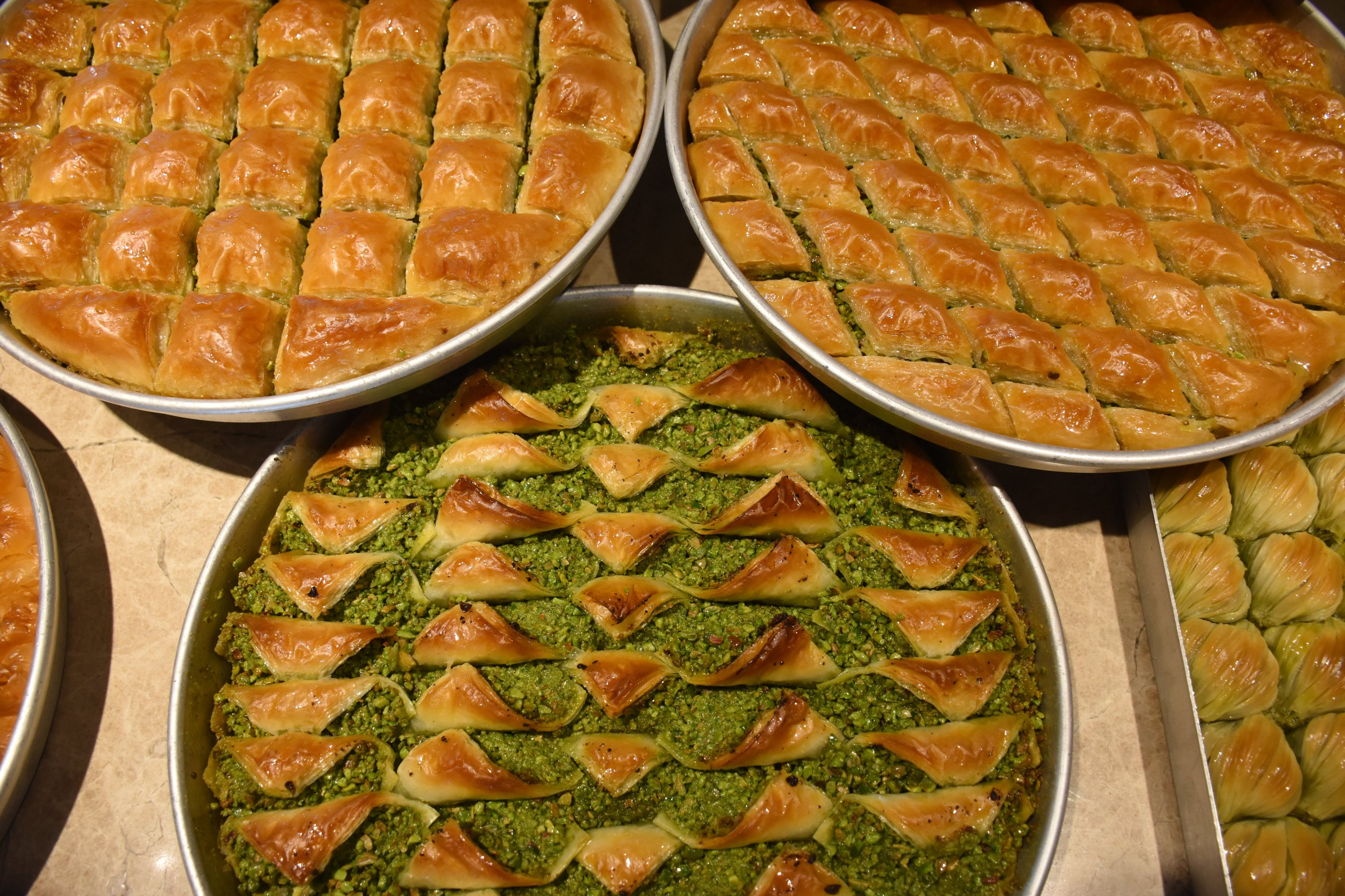 A company employed 80 pastry masters to create new tahini baklava in Gaziantep, southeastern Turkey, Aug. 23, 2020. (AA Photo)