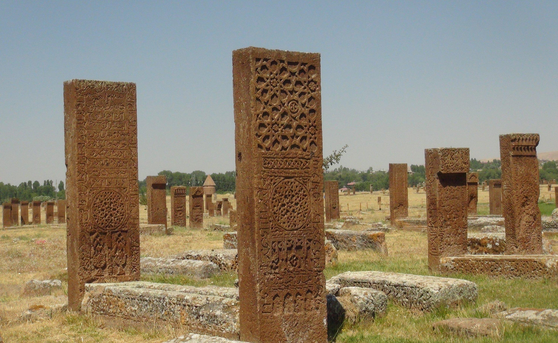 Some tombstones at the Ahlat Seljuk Meydan Cemetery, Bitlis, eastern Turkey, Aug. 22, 2020. (İHA PHOTO)