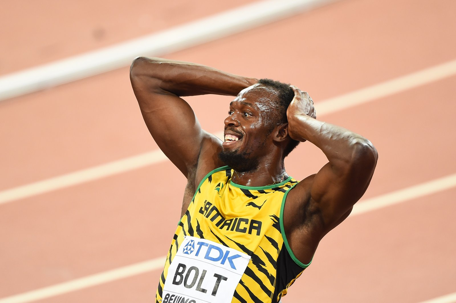 Usain Bolt reacts after winning a sprint race in Beijing, China, Aug. 29, 2015. (AA Photo)