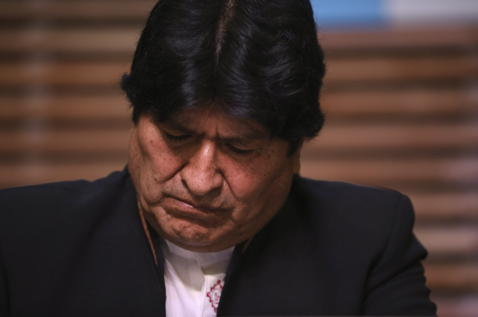 Bolivia's former President Evo Morales gives a press conference regarding the rejection of his plan to run for senator in Buenos Aires, Argentina, where he is living, Feb. 21, 2020. (AP Photo)