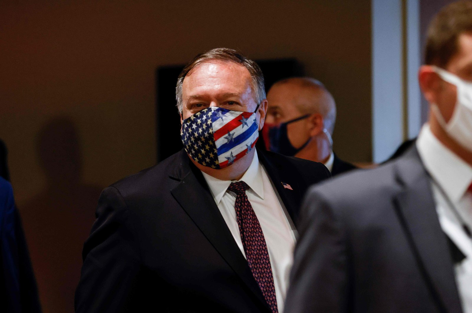 U.S. Secretary of State Mike Pompeo departs a meeting with members of the U.N. Security Council about Iran's alleged noncompliance with a nuclear deal at the United Nations in New York City, New York, U.S., Aug. 20, 2020. (AFP Photo)