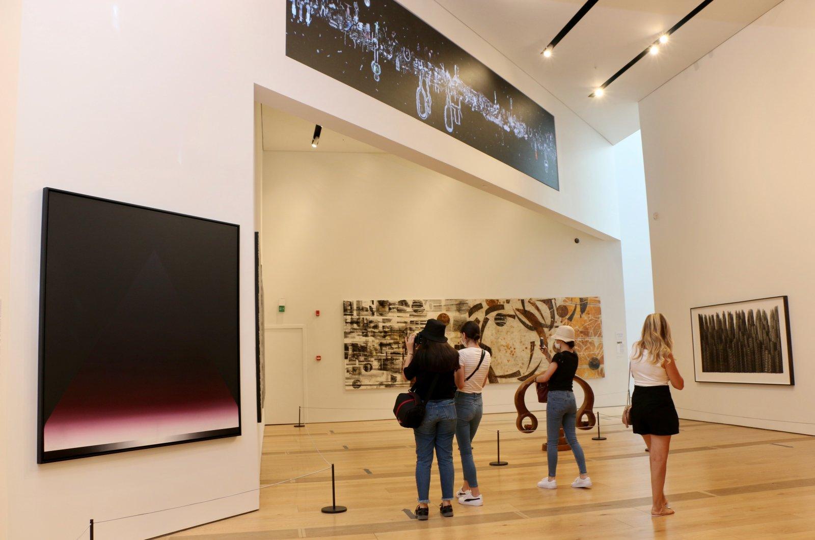 Visitors are seen at Odunpazarı Modern Museum in Eskişehir, central Turkey, Aug. 24, 2020. (AA Photo)
