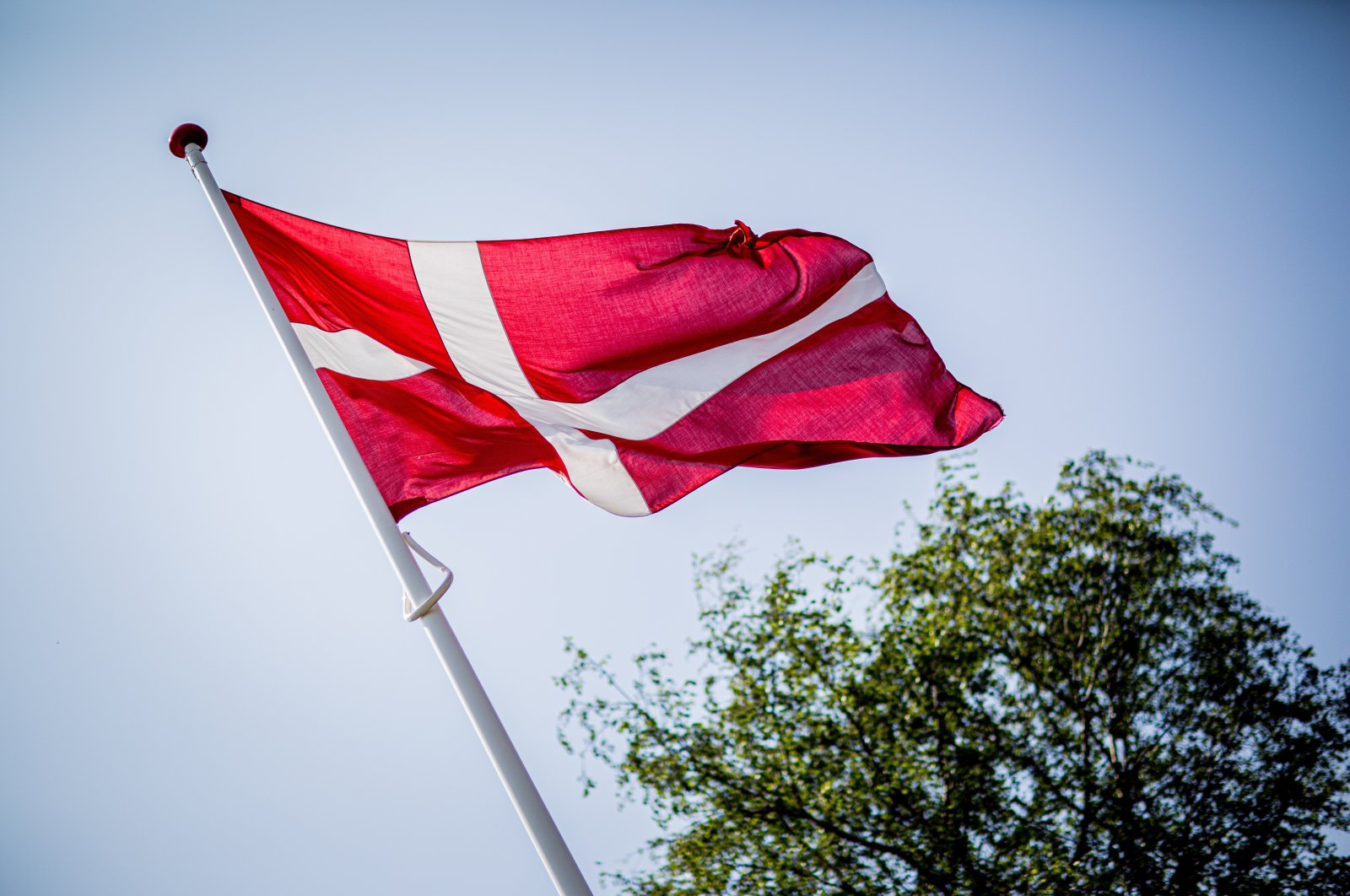 This undated file photo shows a Danish flag flying in the wind.