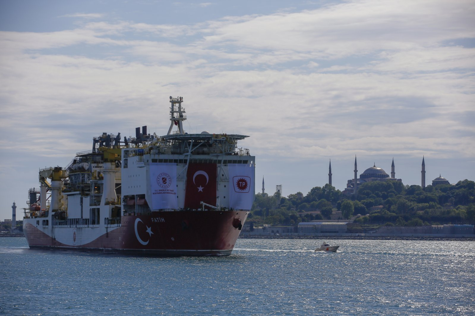 Turkey's drilling ship, Fatih, heads toward the Black Sea with Hagia Sophia Grand Mosque in the background, Istanbul, Turkey, May 29, 2020. (AP Photo)