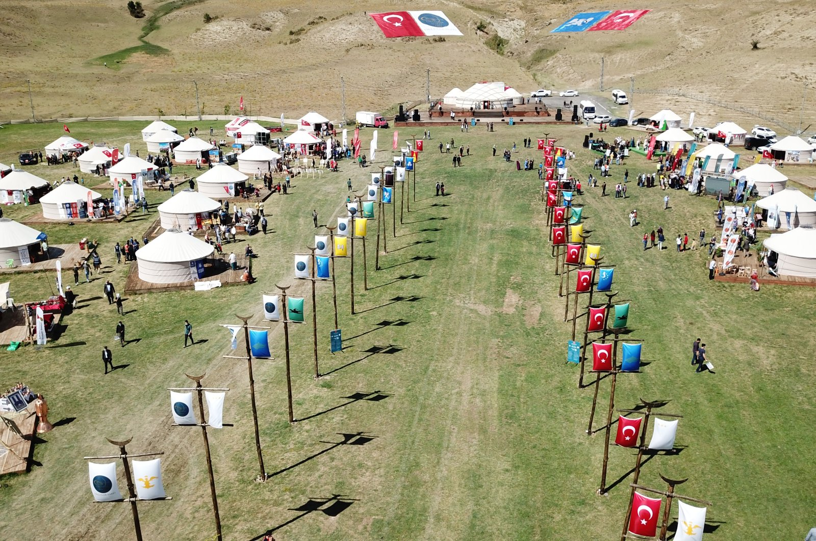 A view of yurts set up in Ahlat district where Sultan Alp Arslan camped before the battle, in Bitlis, eastern Turkey, Aug. 23, 2020. (AA Photo)