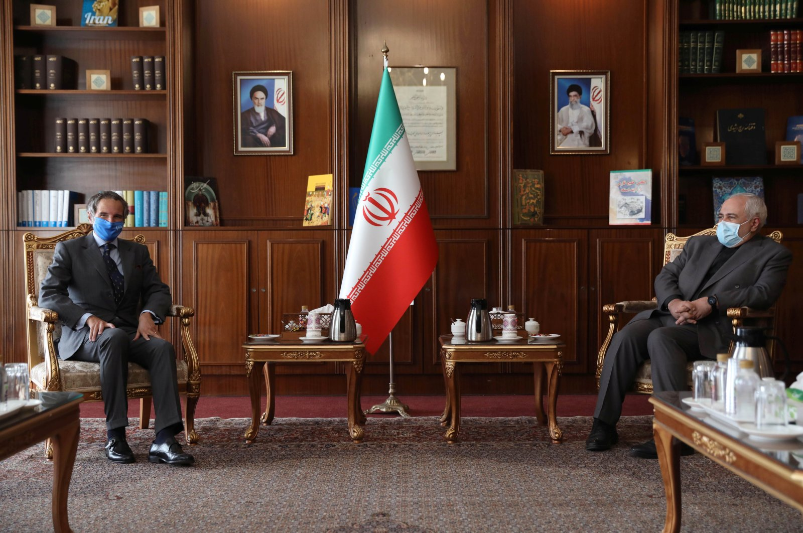 Iran's Foreign Minister Mohammad Javad Zarif meets with International Atomic Energy Agency (IAEA) Director-General Rafael Grossi in Tehran, Iran, Aug. 25, 2020. (West Asia News Agency Photo via Reuters)