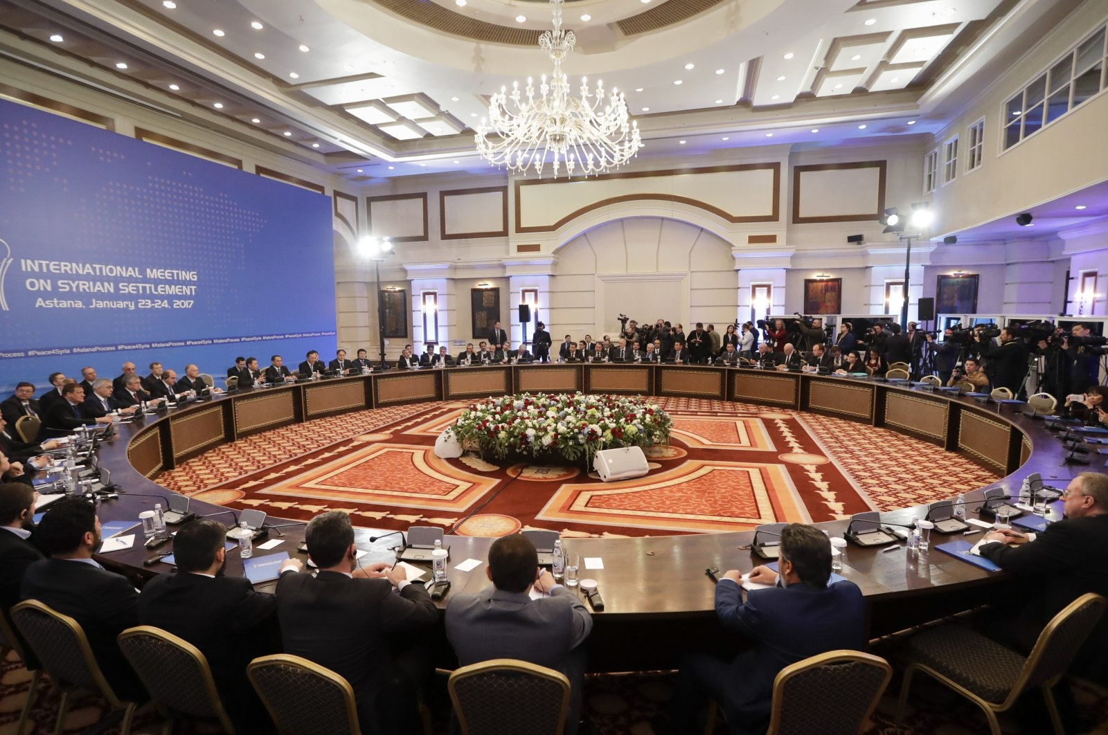 Delegations of Russia, Iran and Turkey hold talks on Syrian peace at a hotel in Astana, now known as Nur Sultan, Kazakhstan, Jan. 23, 2017. (AP File Photo)