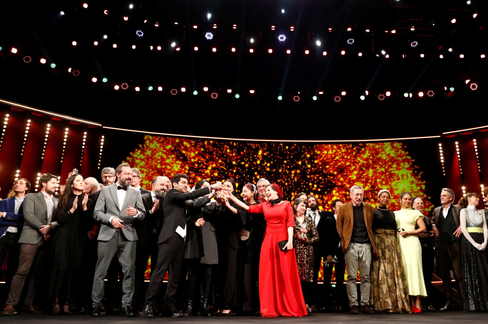 The awarded pose for a family picture after the awards ceremony at the 70th Berlinale International Film Festival in Berlin, Germany, Feb. 29, 2020. (Reuters photo)