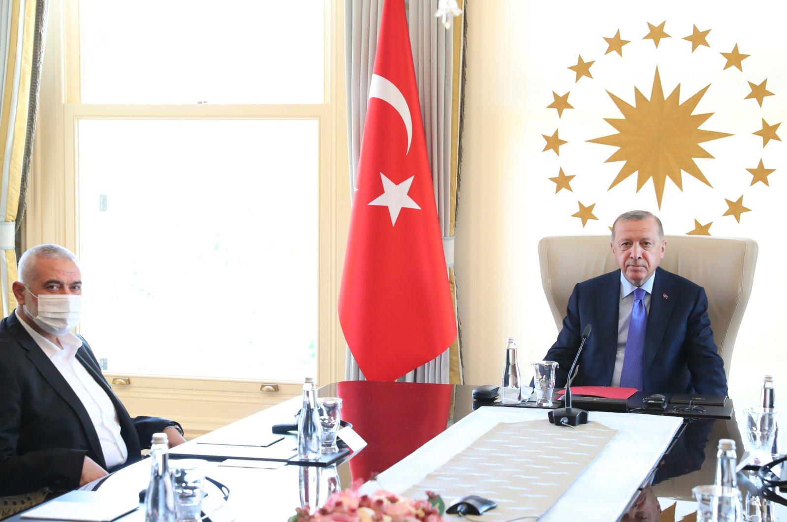President Recep Tayyip Erdoğan receives Ismail Haniyeh, the political head of Hamas, in Istanbul, Turkey, Aug. 22, 2020. (AA Photo)