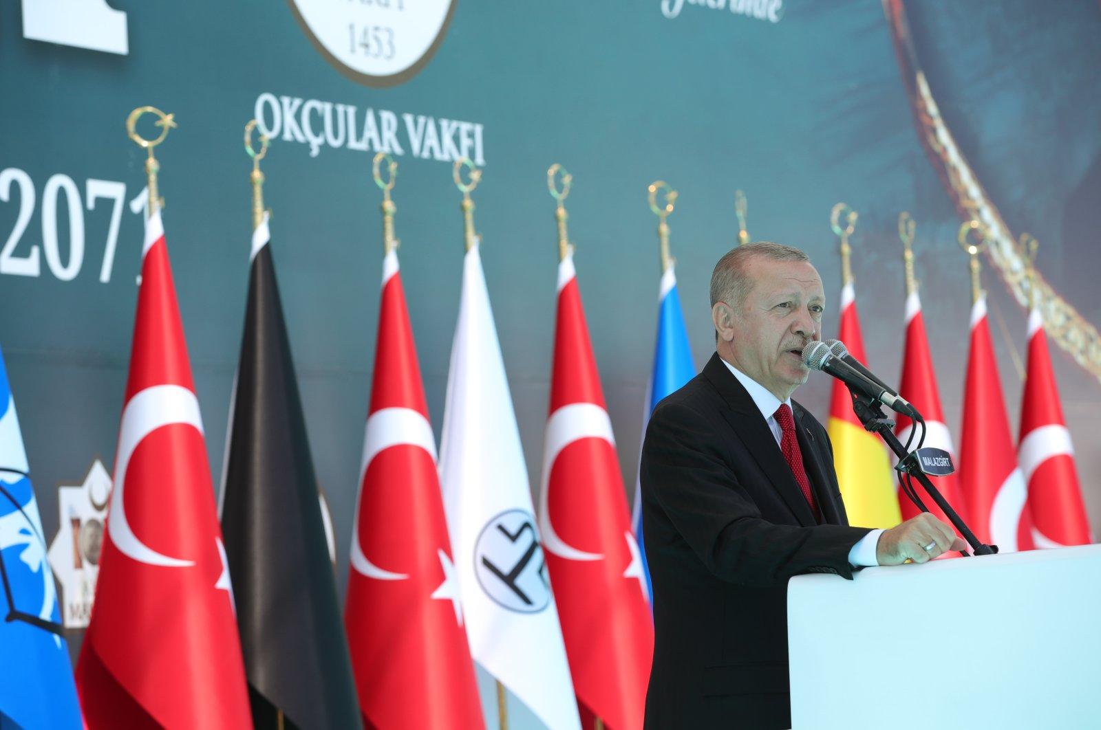 President Recep Tayyip Erdoğan speaks at the 949th anniversary of the Victory of Manzikert in the Ahlat district of eastern Bitlis province, Turkey, Aug. 26, 2020. (AA Photo)