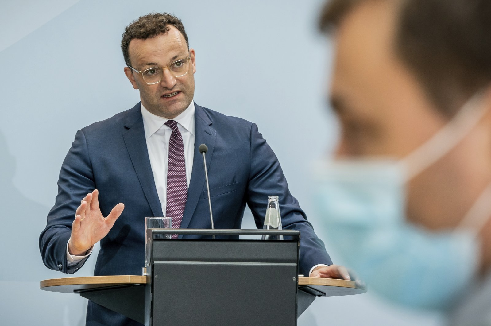 Jens Spahn, federal minister of health, gives a press conference at the Federal Ministry of Health in Berlin, Germany, Aug. 26, 2020. (AP Photo)