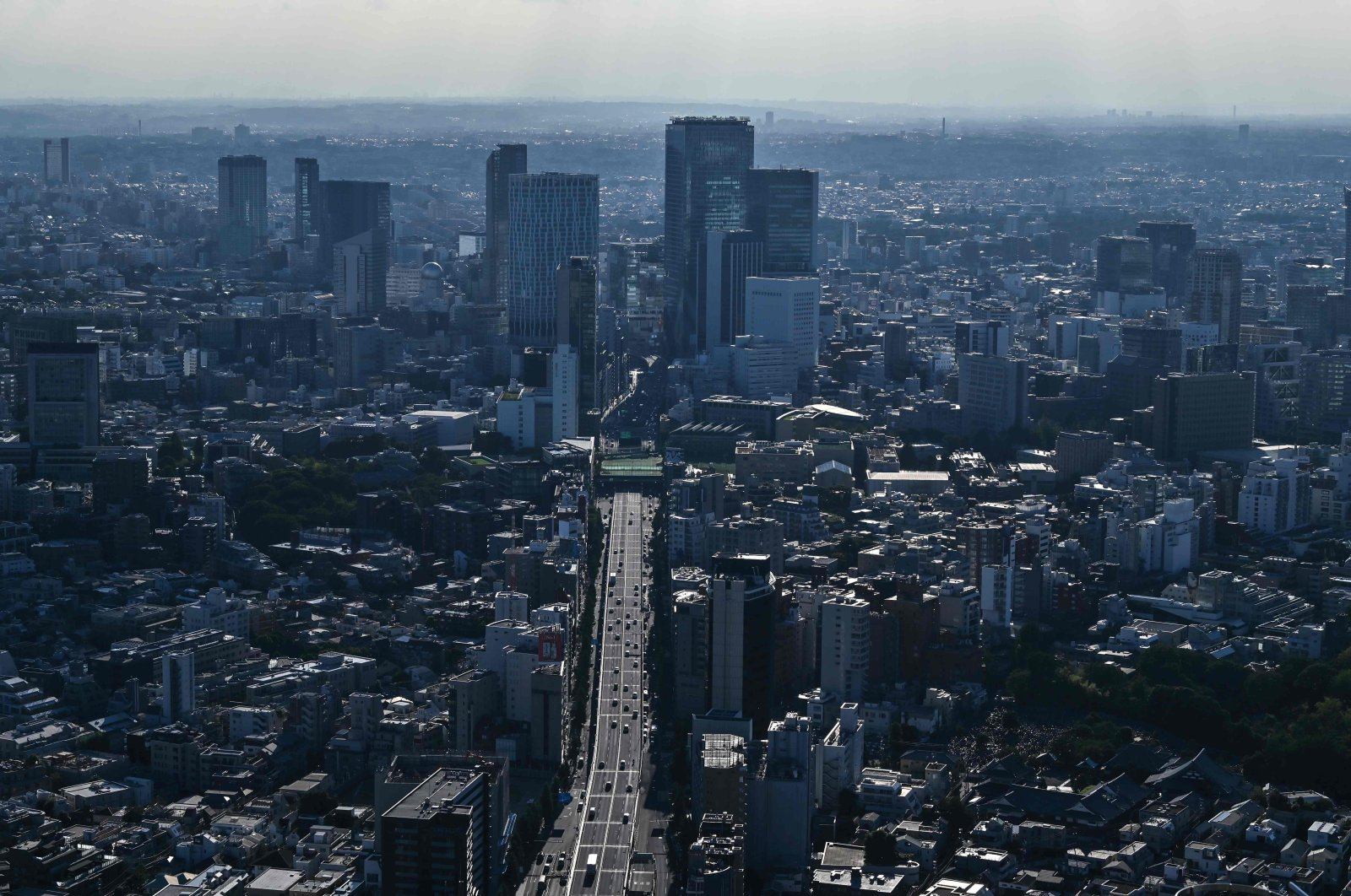 The Shibuya area skyline is seen from an observation deck in Tokyo on Aug. 26, 2020. (AFP Photo)