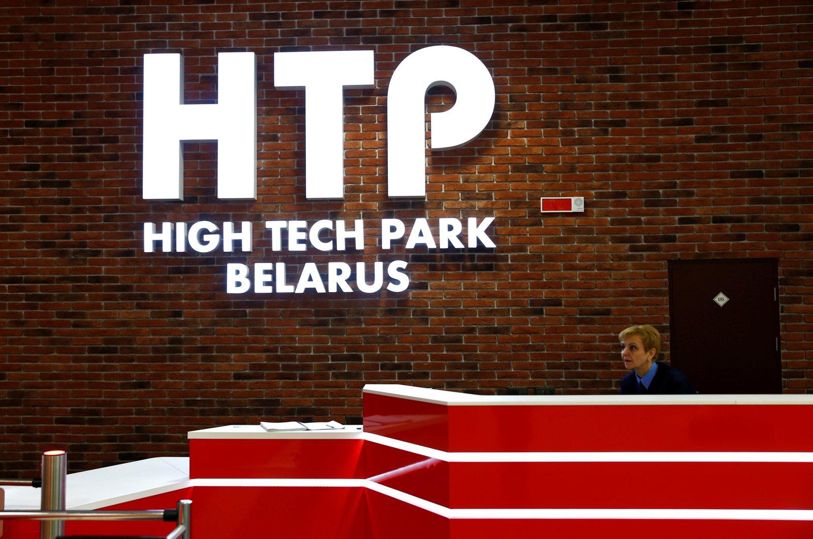 Logo of Hi-Tech Park Belarus is seen on a wall at its office in Minsk, Belarus on March 17, 2016. (Reuters Photo)