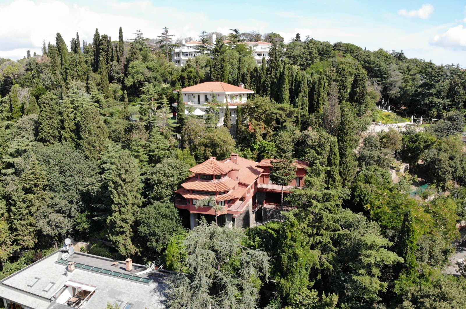 An aerial view of Bruno Taut's Villa (C) in Istanbul, Aug. 26, 2020. (IHA Photo)