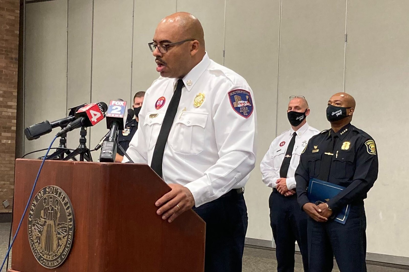 Southfield, Mich., Fire Chief Johnny Menifee holds a news conference on Wednesday, Aug. 26, 2020, in Southfield, Mich., in response to questions about a woman, Timesha Beauchamp, who was found alive at a funeral home. (AP Photo)